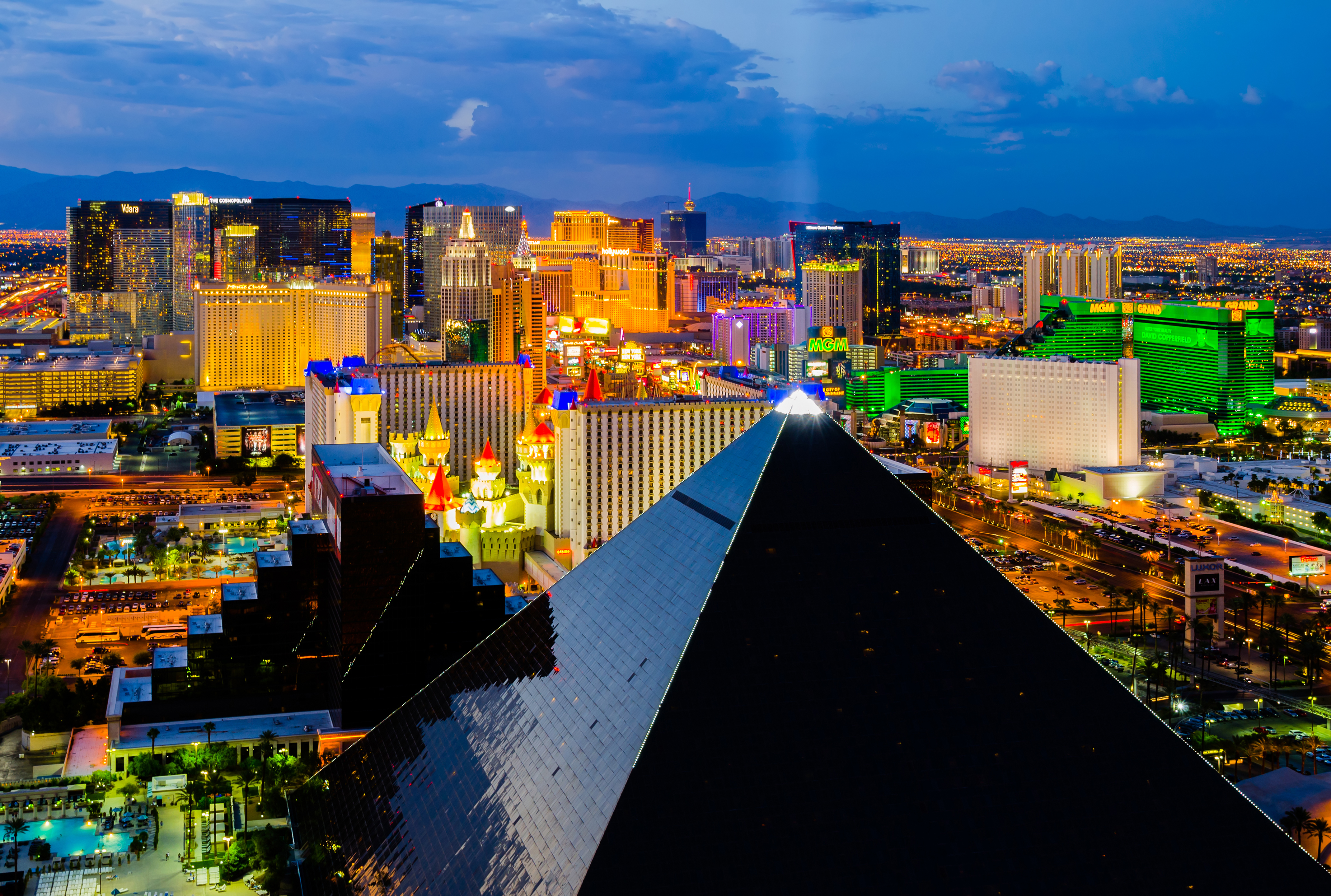 Las Vegas, USA - August 13, 2012: An aerial view of Las Vegas strip. The strip is approximately 4.2 mi (6.8 km) long and featured with world class hotels and casinos.