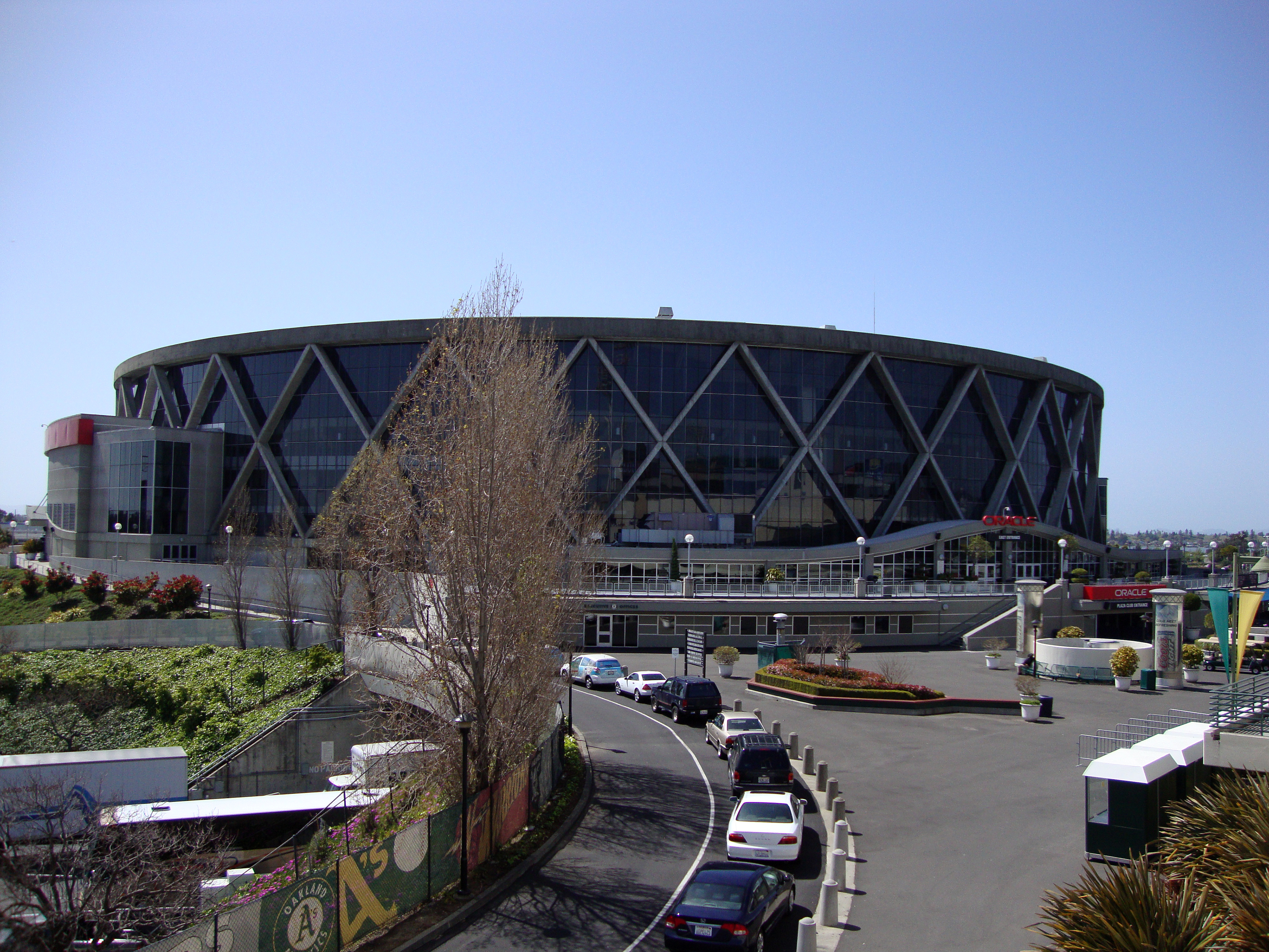 Oakland, USA - April 8, 2010: Oracle Arena in Oakland on April 8, 2010. The Oracle Arena is a multi-purpose sports and concert venue which is home to the Golden State Warriors of the NBA.