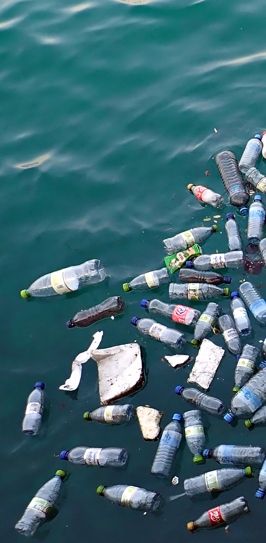 plastic pollution and garbage floating in the ocean
