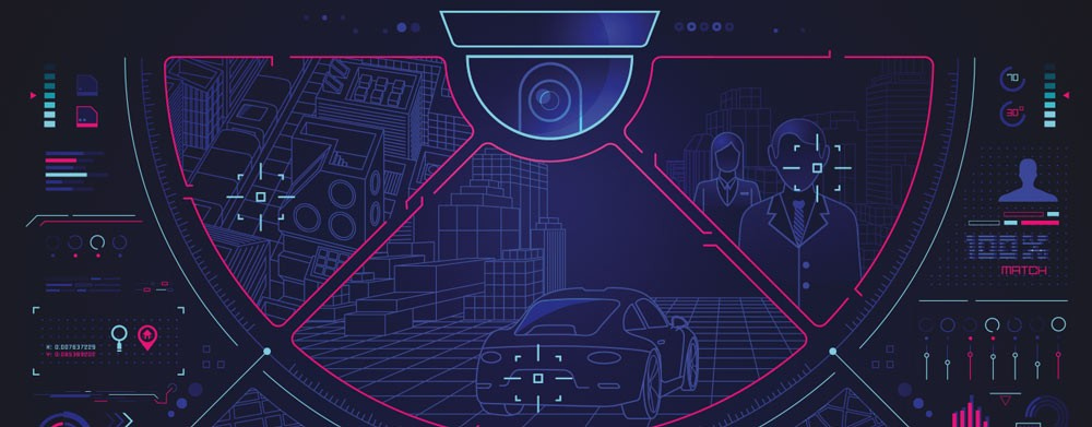 Graphic illustration of a dome security camera with facial recognition graphical overlays