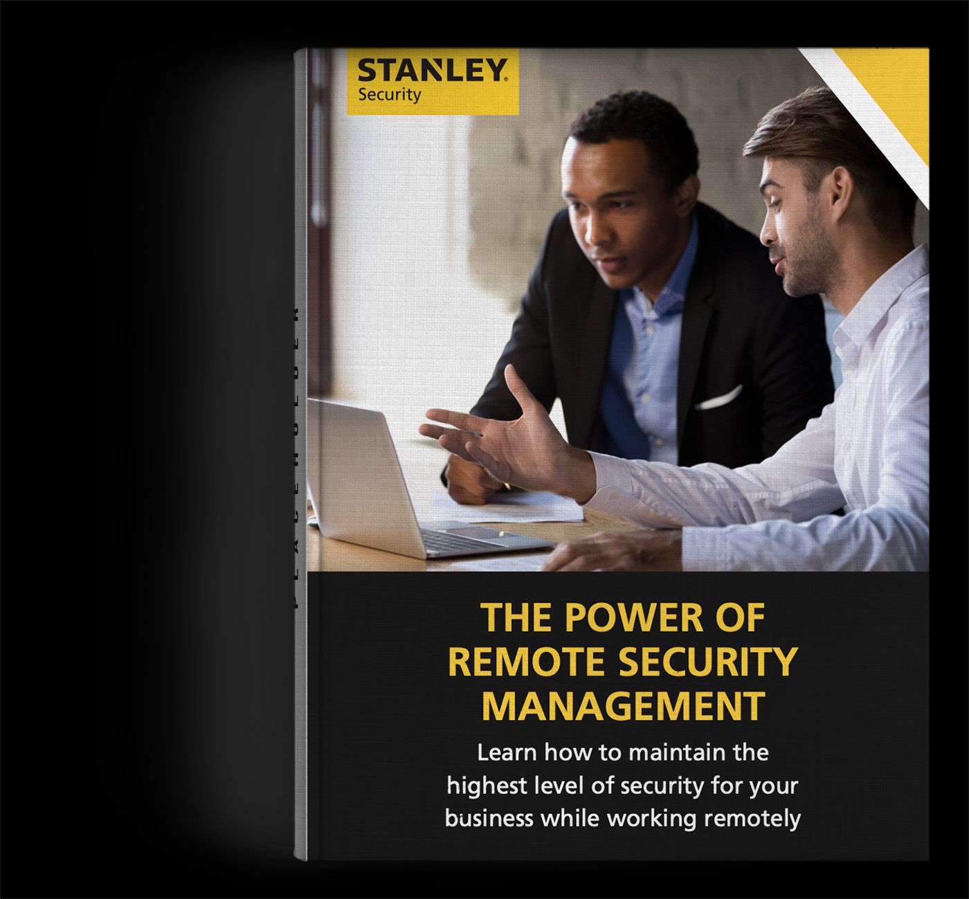 image of the front cover of the ebook showing an employee discussing remote security management options with a client
