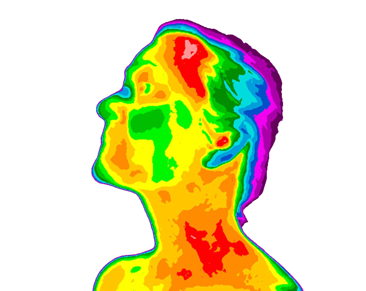 Thermal Image of a male from a side angle