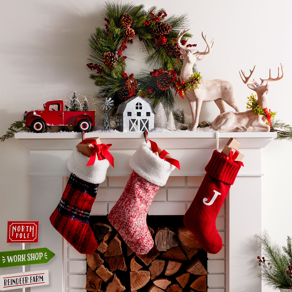 Image of Stockings hung on a fireplace