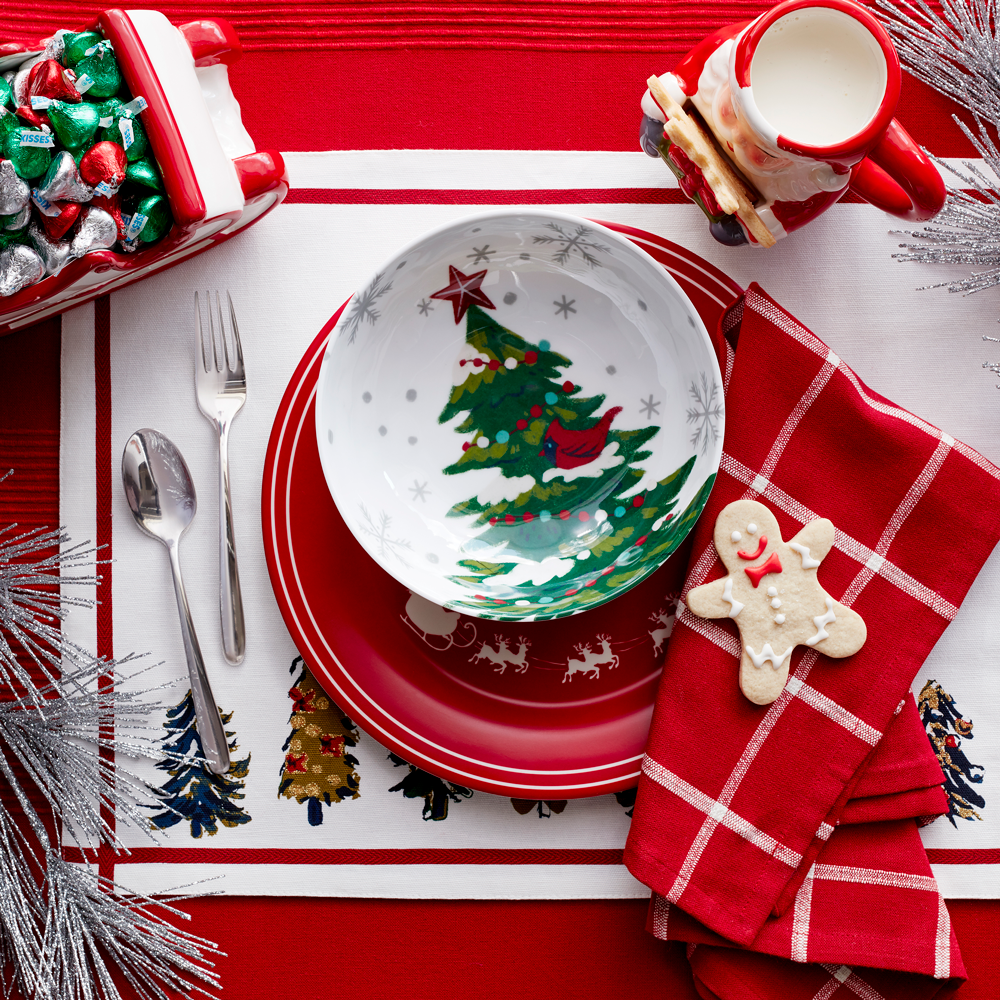 Holiday plates, napkins and a santa mug