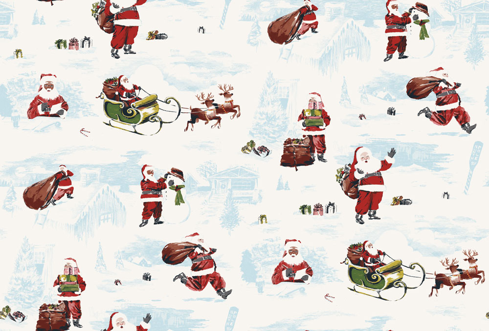 An illustrated pattern of different santas