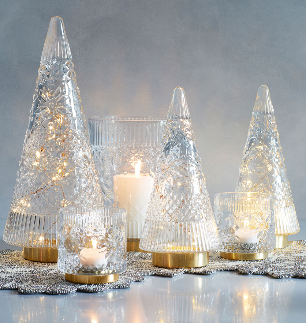 Candles and mercury glass trees from Target