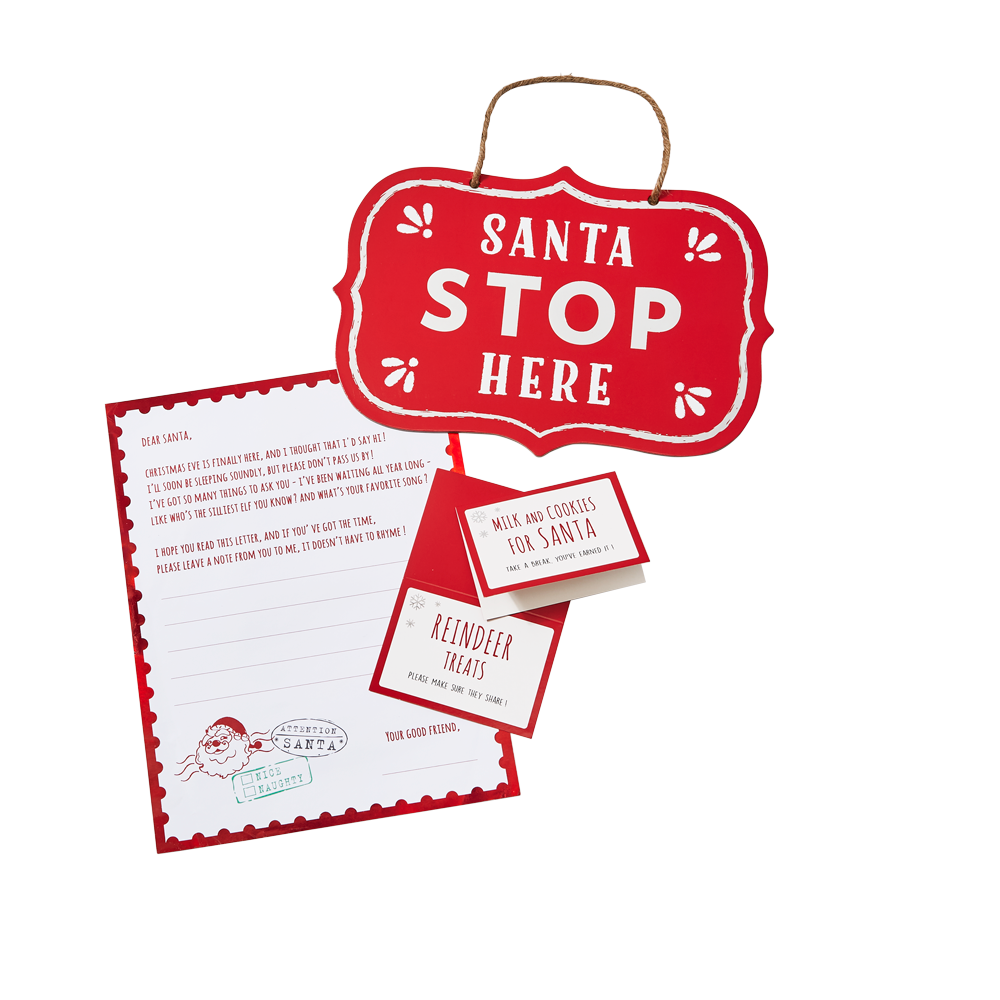 Santa Kit from Target featuring plates, letters to santa and a stop sign.