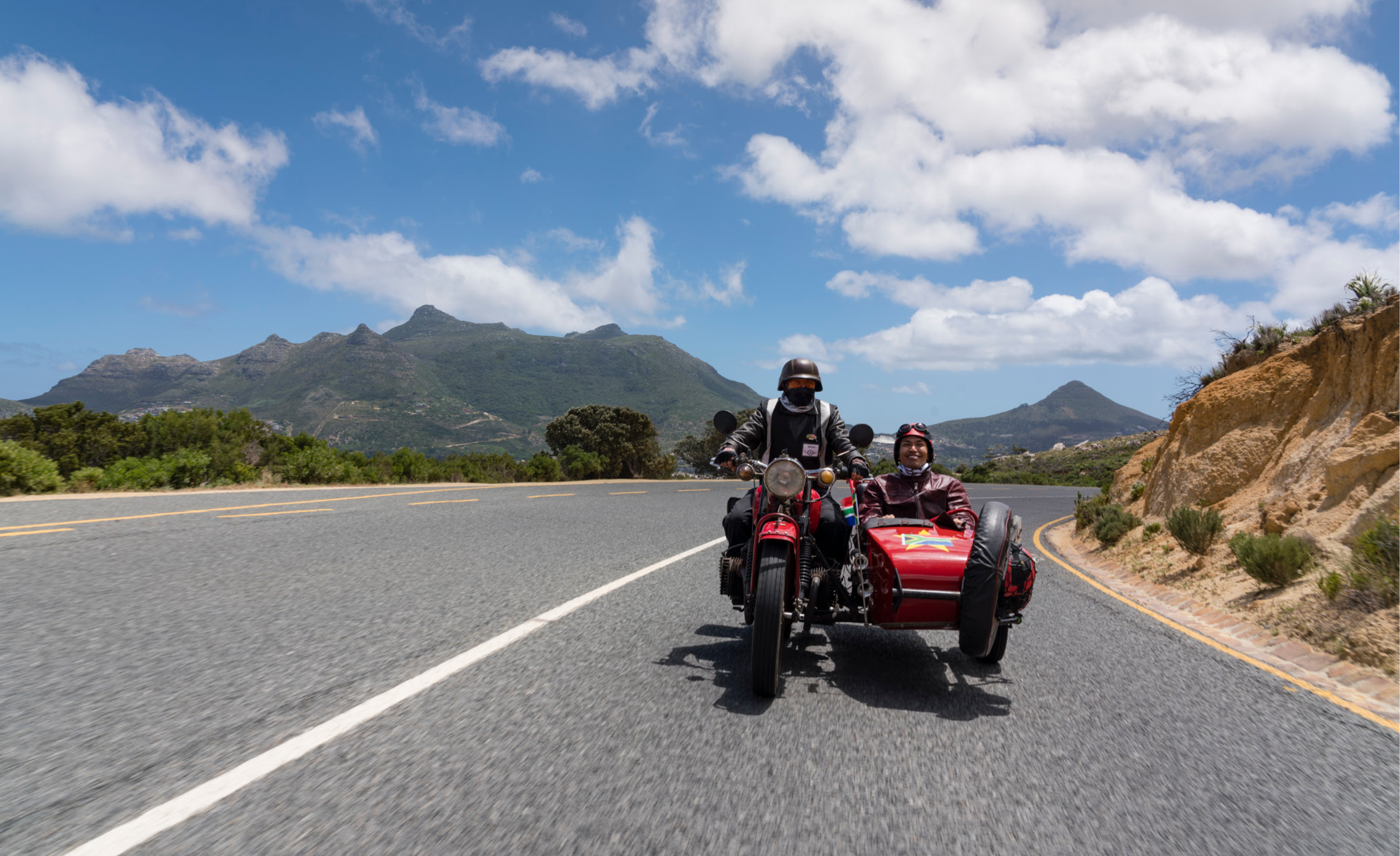 cape town sidecar scooter mountain road