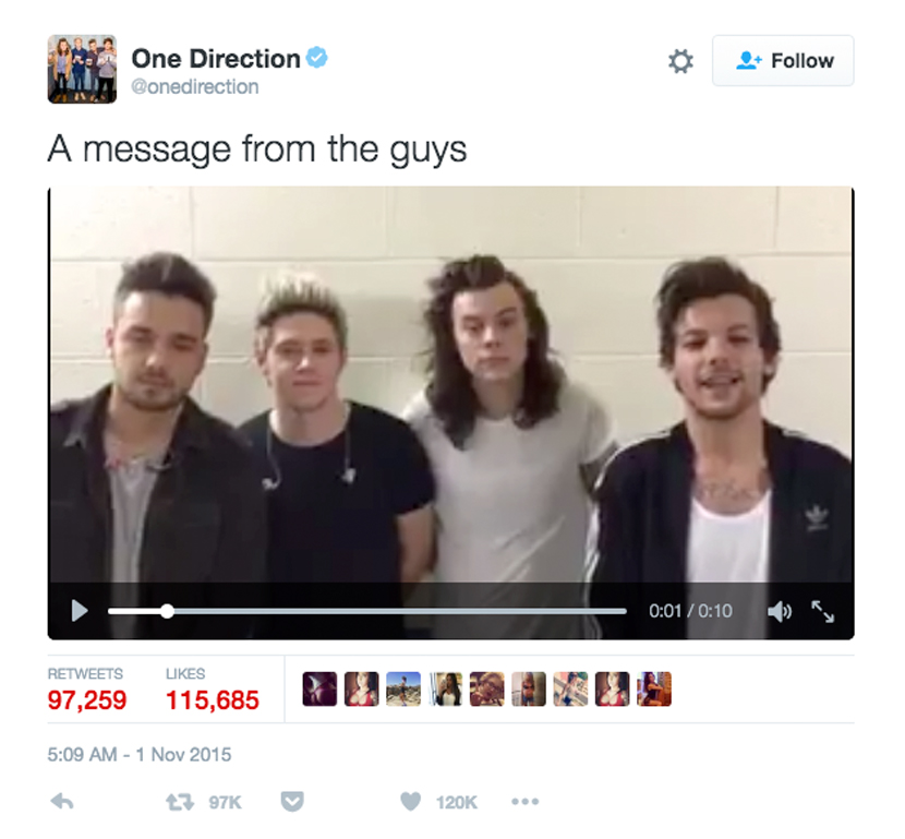 One Direction Twitter Post