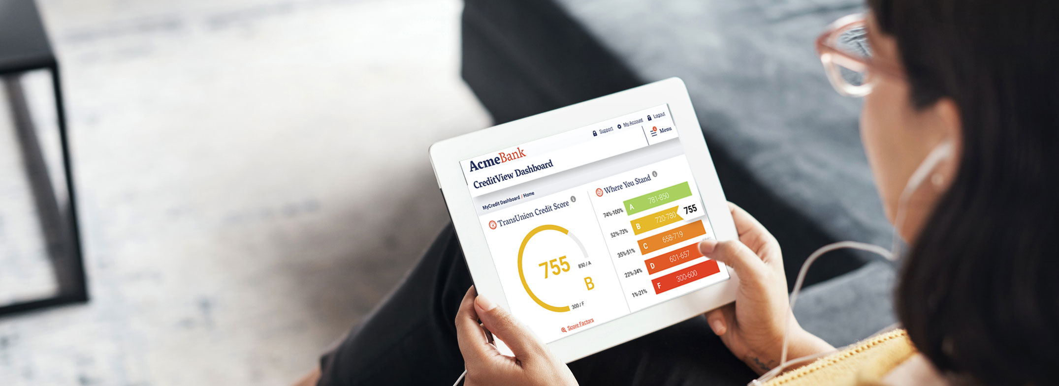CreditView Dashboard product on tablet