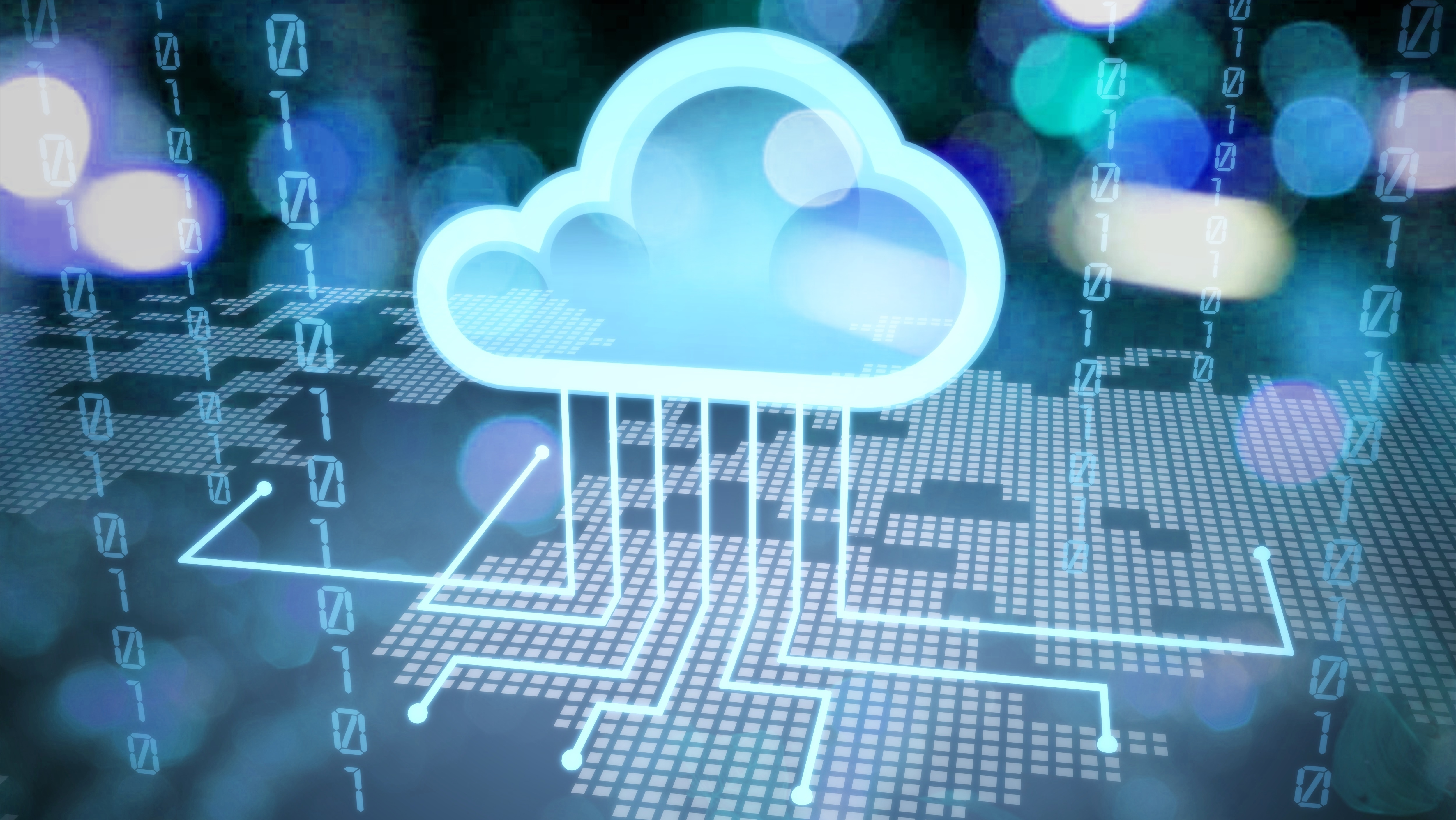 Cloud service icon with options and devices