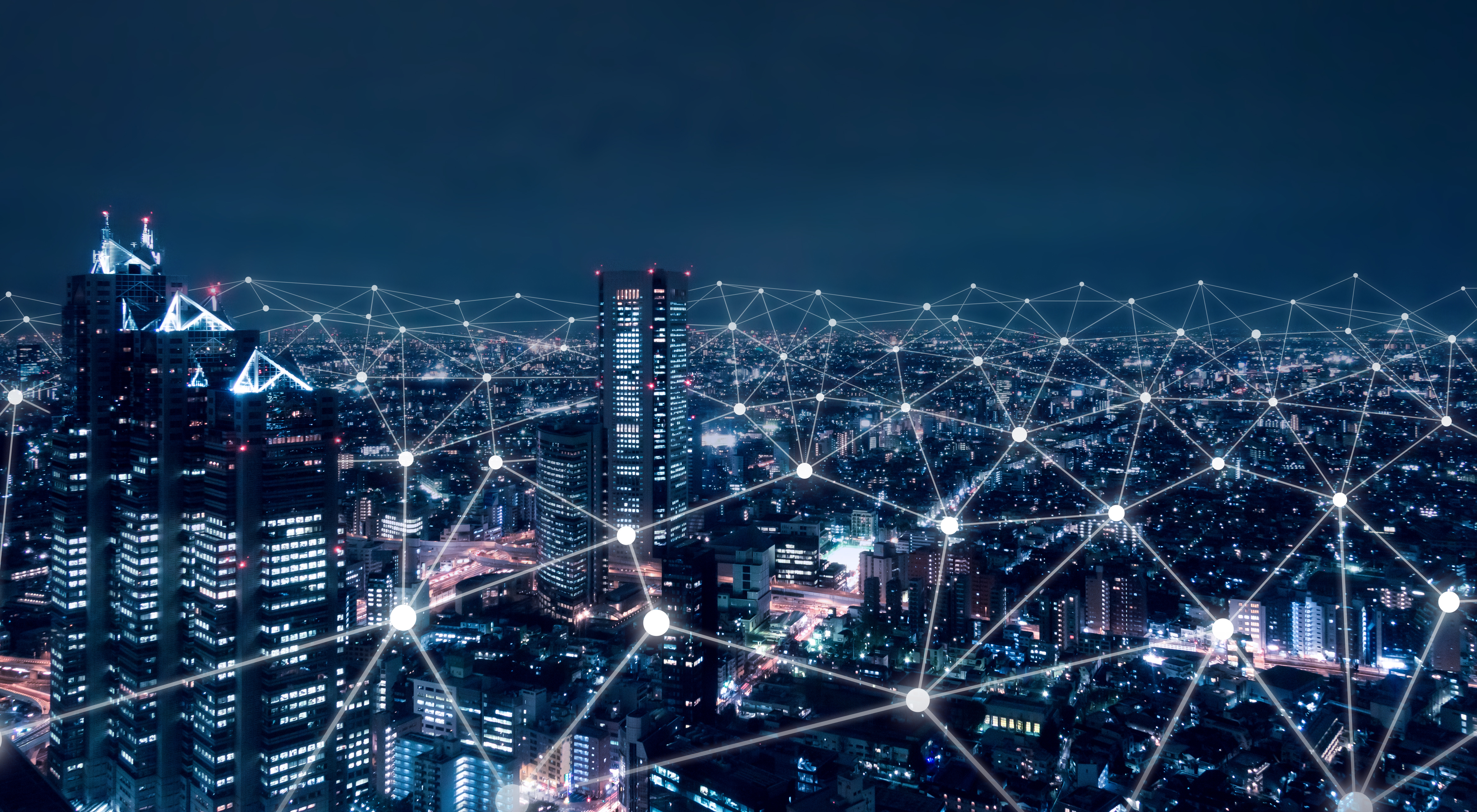 Telecommunication network above city, wireless mobile internet technology for smart grid or 5G LTE data connection, concept about IoT, global business, fintech, blockchain