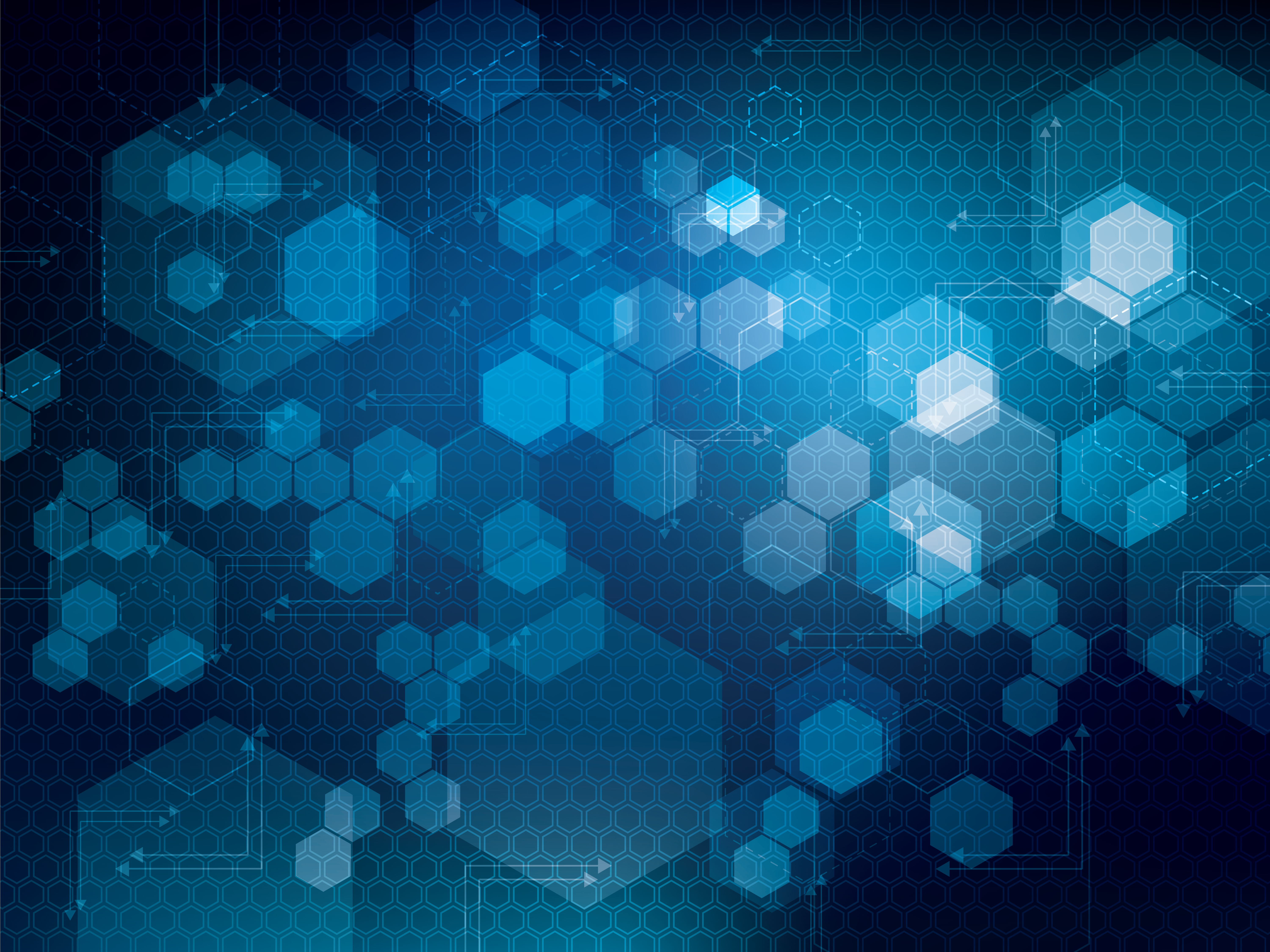 Abstract blue technology background with lines, arrows, hexagons. Concept of futuristic design of technology, science, medicine and chemistry in vector illustration.