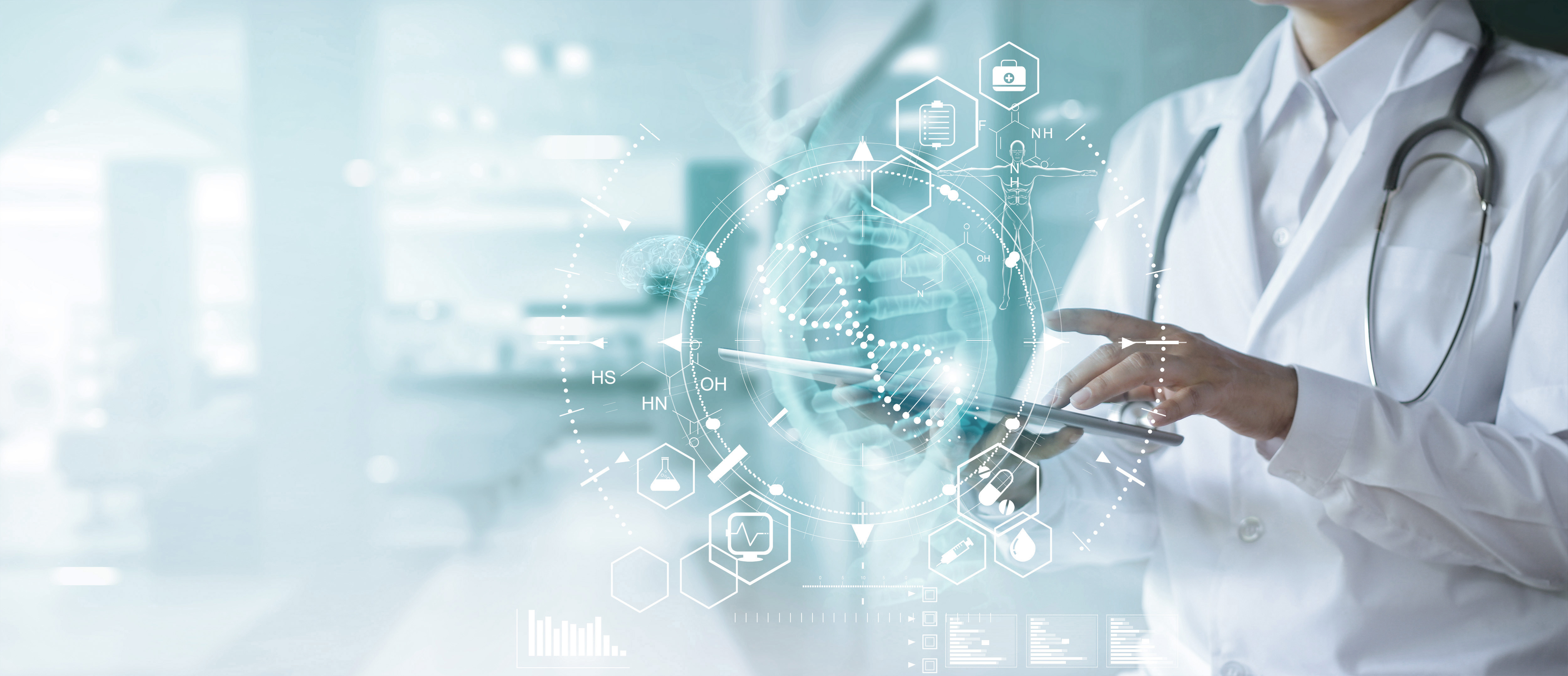Medicine doctor touching electronic medical record on tablet. DNA. Digital healthcare and network connection on hologram modern virtual screen interface, medical technology and futuristic concept.