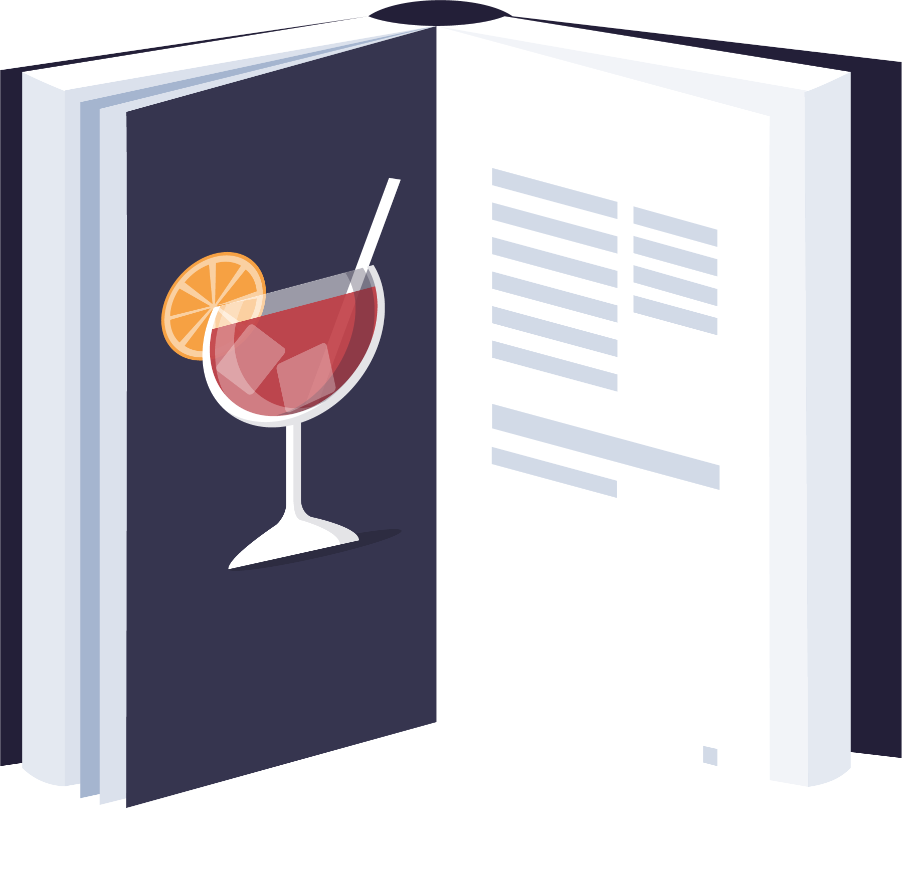 Illustration of an open cocktail book