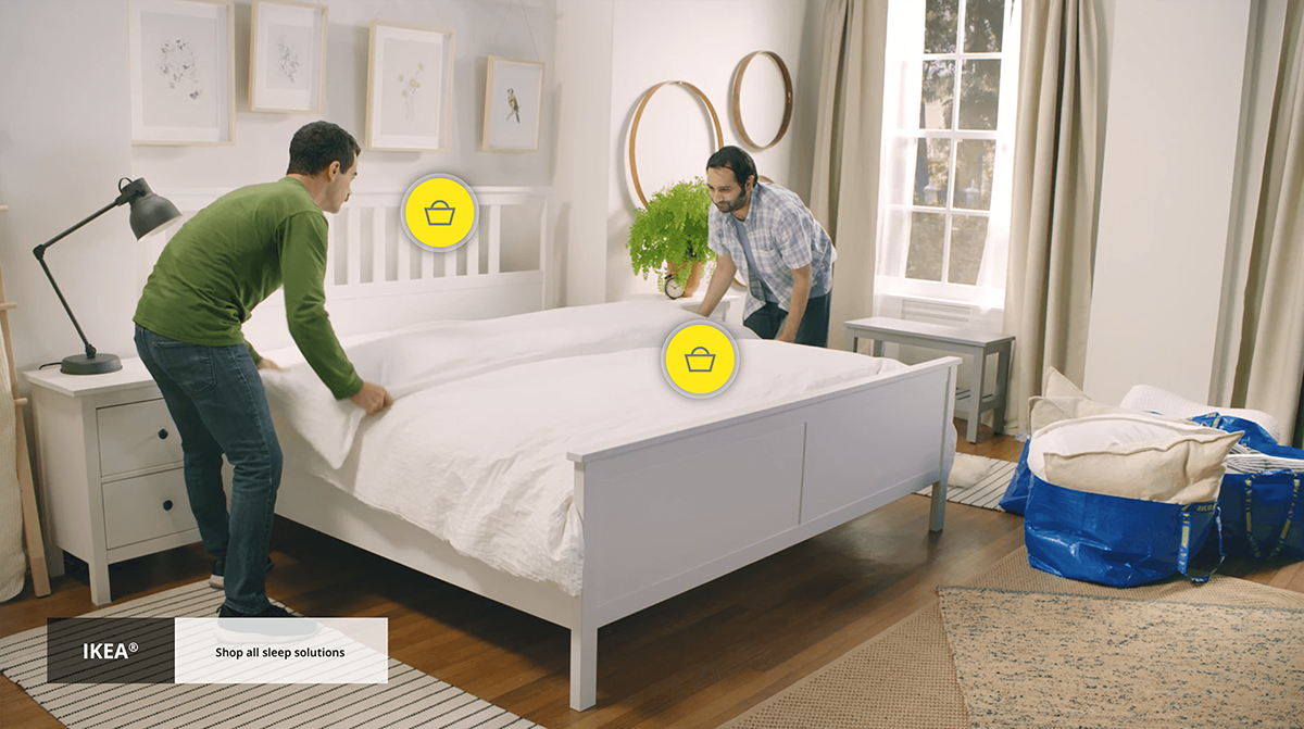 Screenshot of Ikea Shoppable video created with WIREWAX interactive video studio.