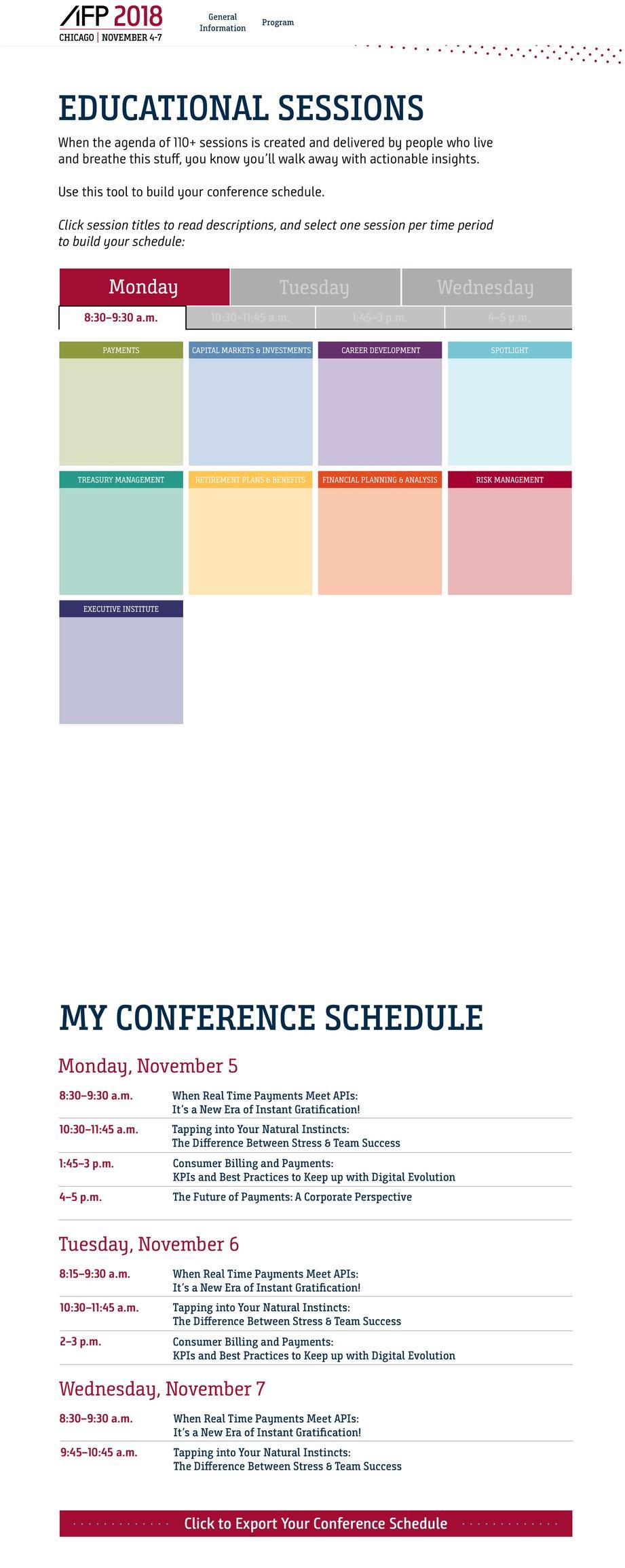 AFP 2018 Agenda Builder