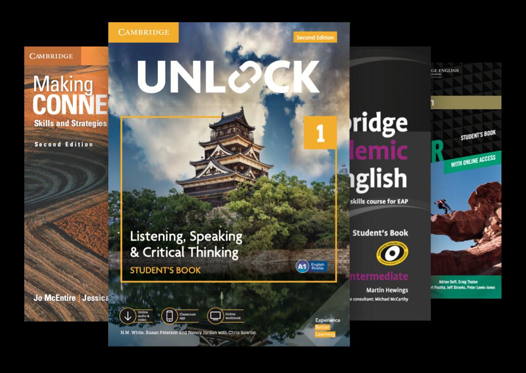 EAP Courses by Cambridge University Press book covers