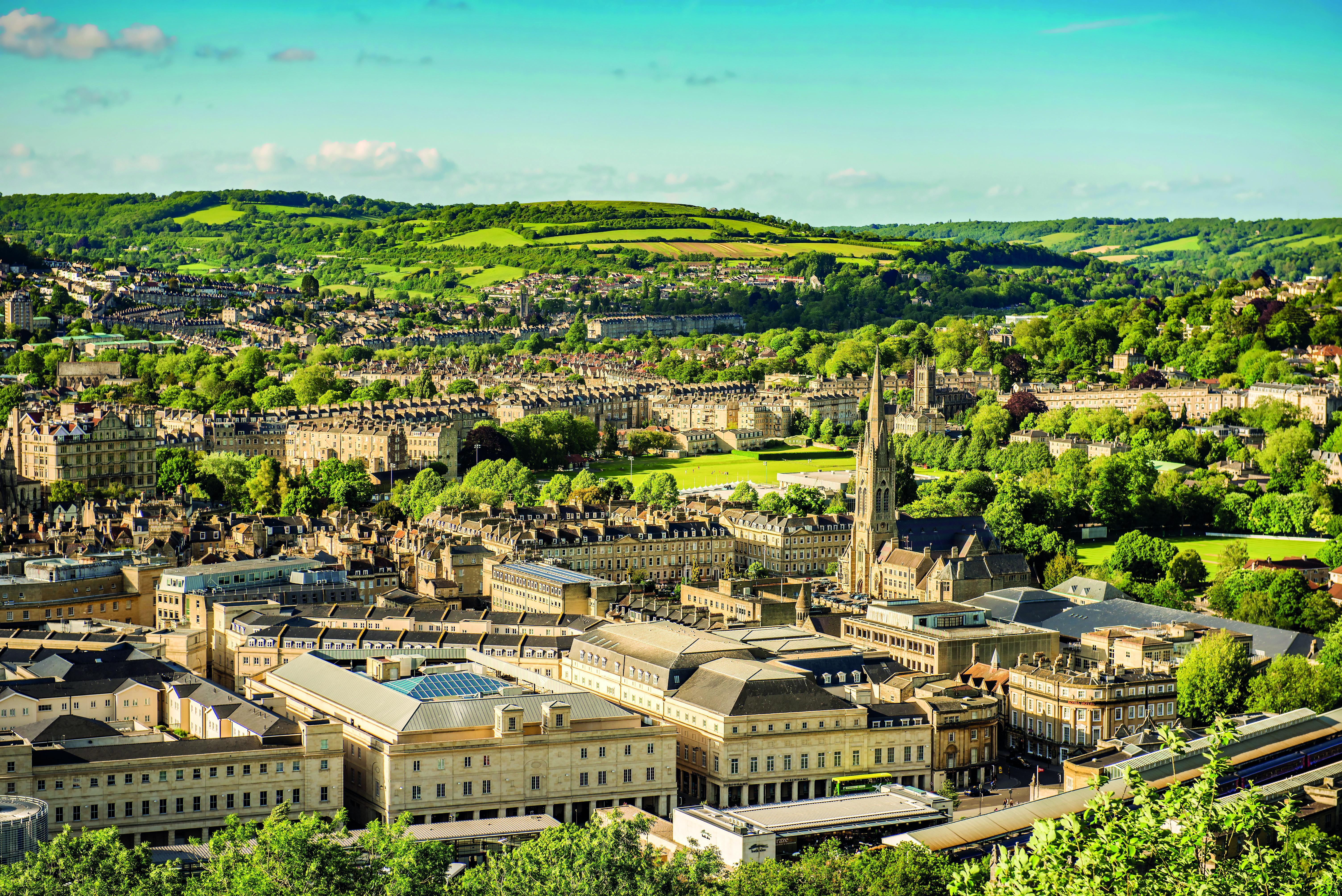 Aerial shot of Bath with a bright blue sunny sky