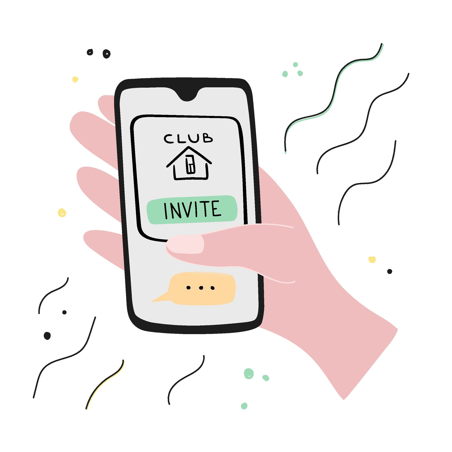New popular social network with audio chatting, people receive an invitation for using app. Clubhouse is for audio chatting. Vector illustration