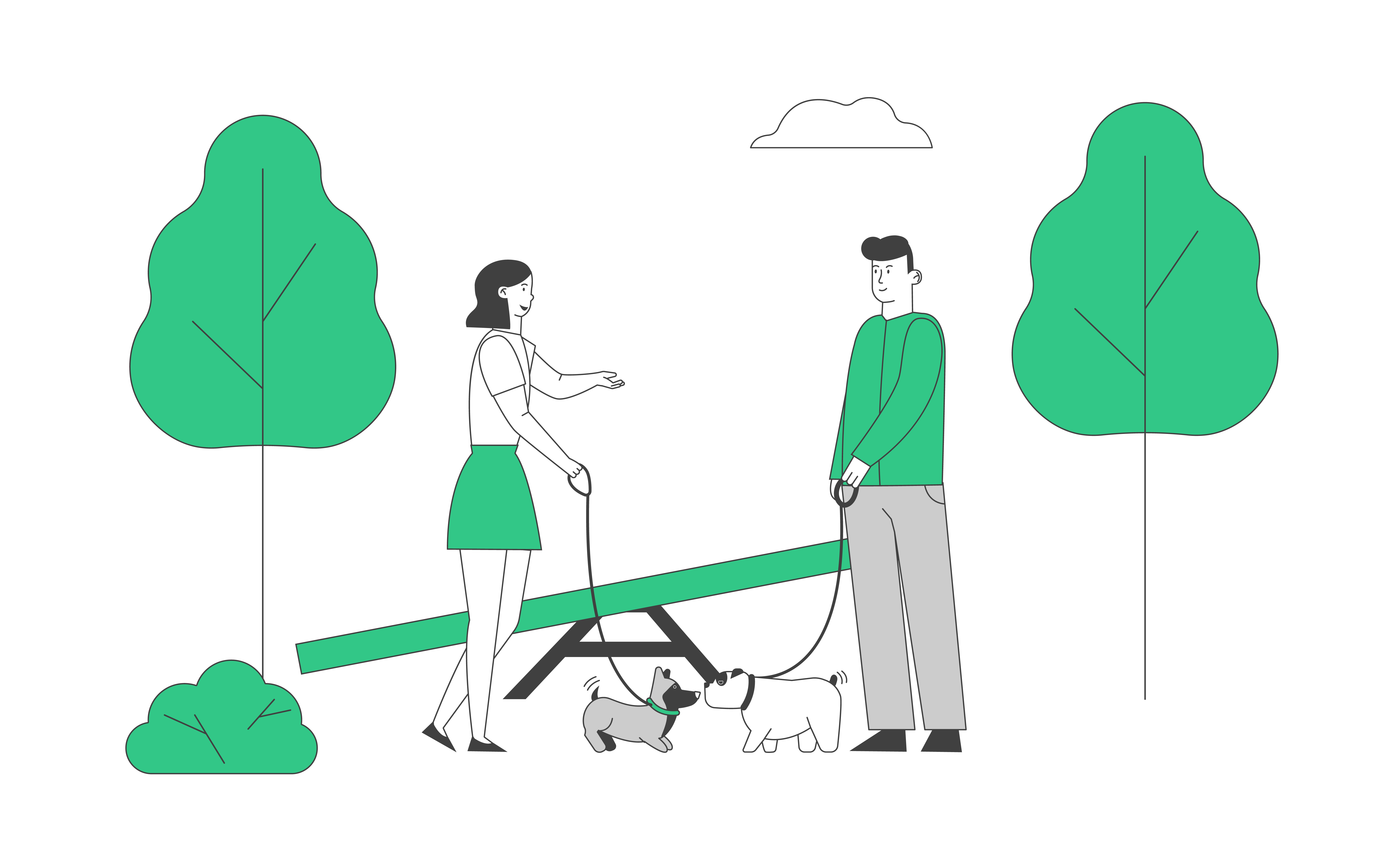 Male and Female Characters Walking with Dogs in Public City Park or Home Yard. People Spending Time with Pets Outdoors. Leisure, Communication with Animals Cartoon Flat Vector Illustration, Line Art