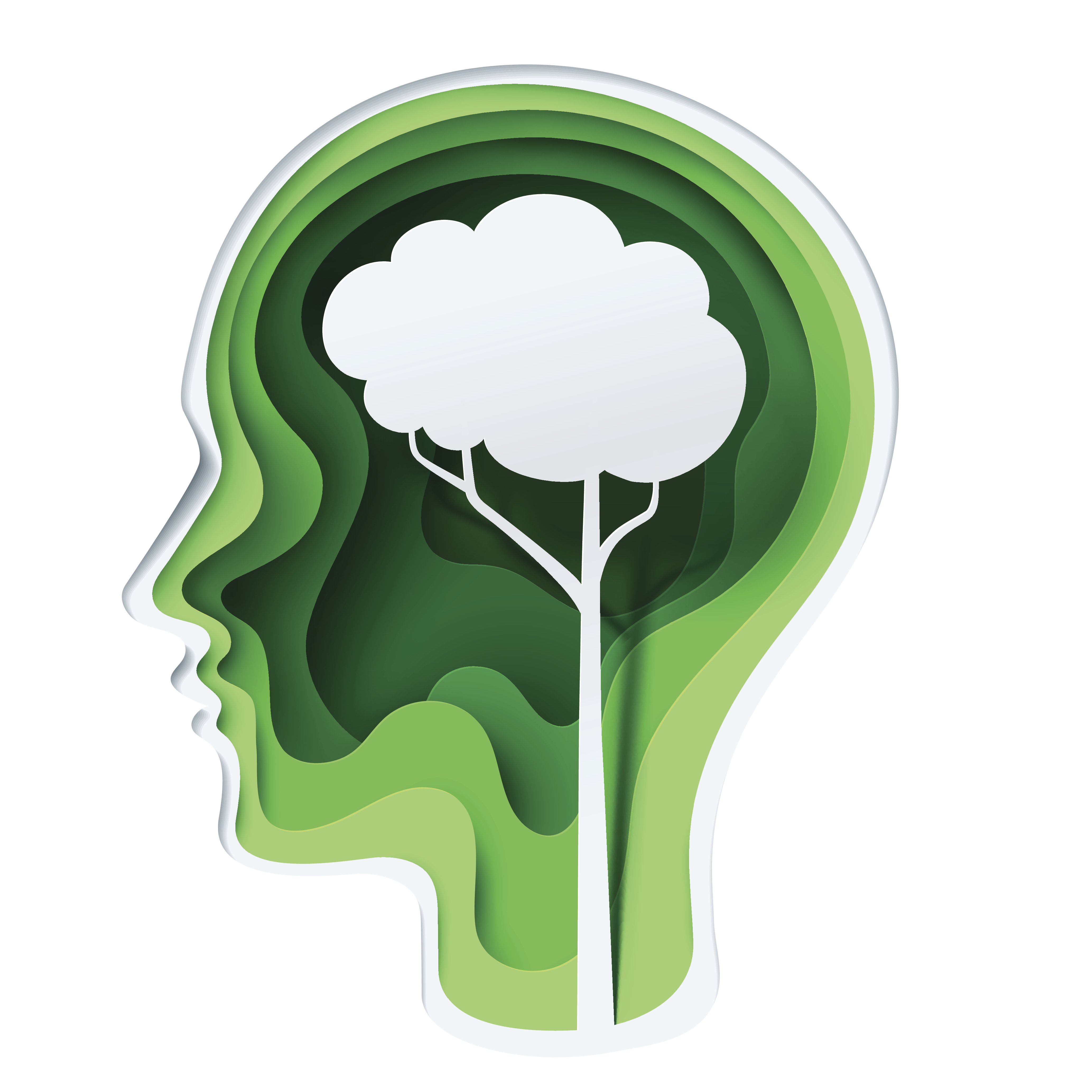 Paper carve to human head and tree shape look like a brain on green background, paper art concept and ecology idea, vector art and illustration.