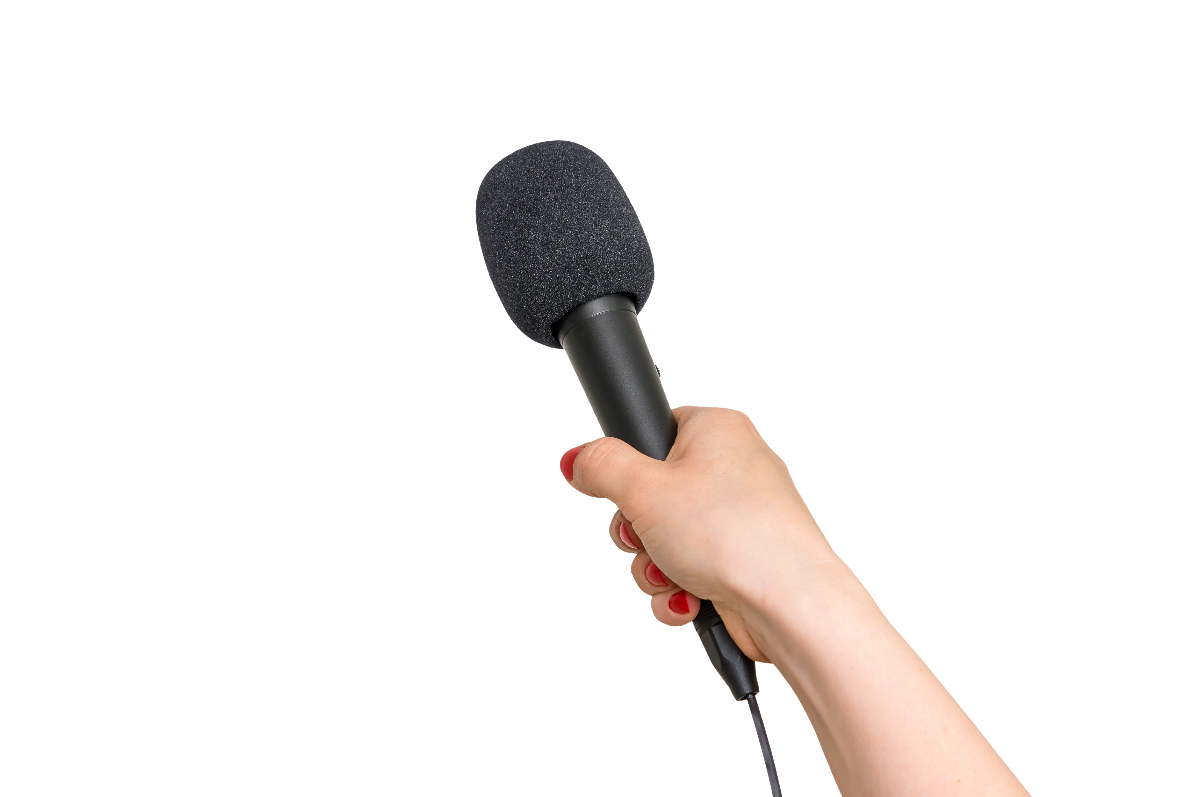 Hand of reporter with black microphone isolated on white - journalism and broadcasting concept