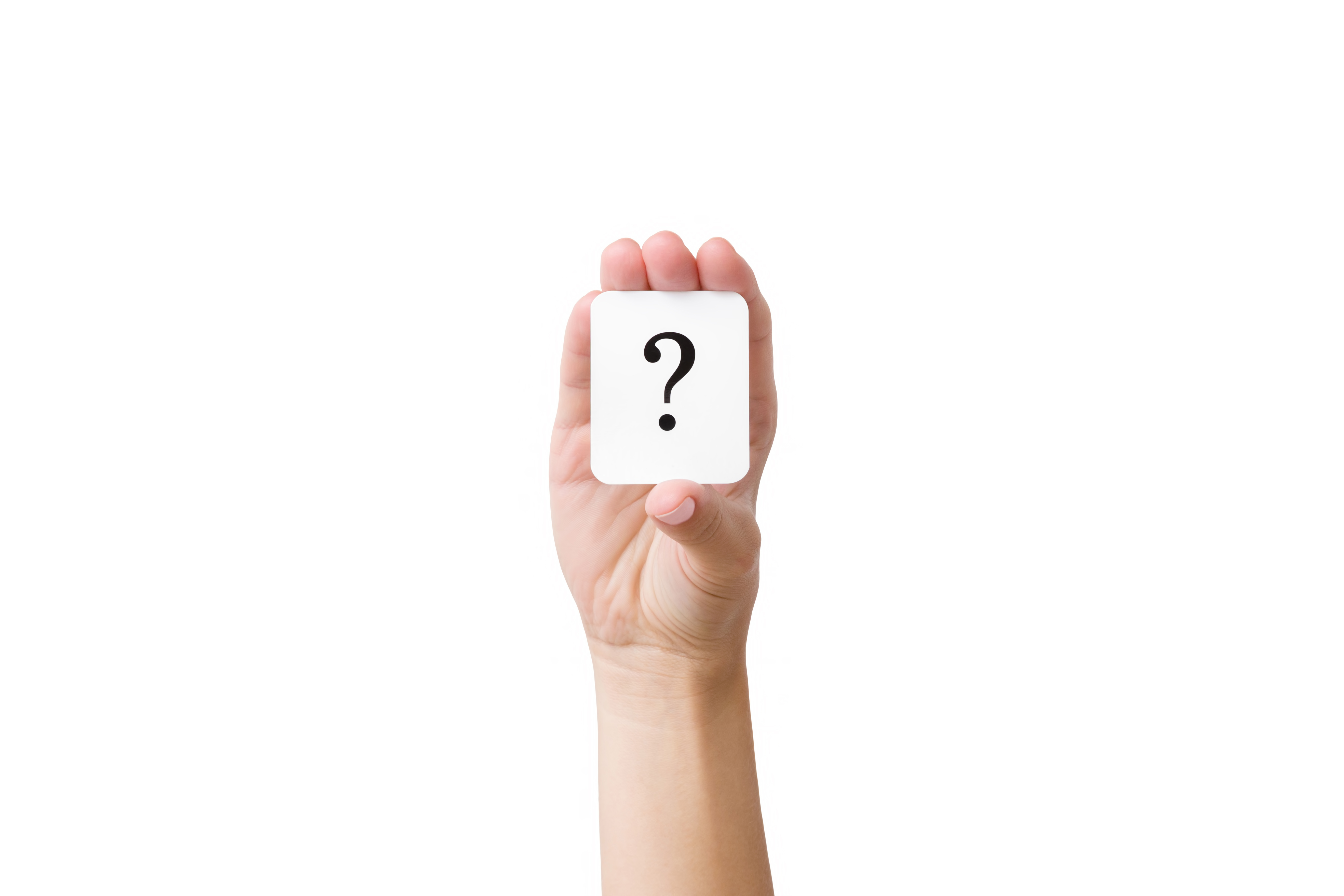 Woman's hand showing card of question mark. People problem. Solution search concept. Cutout human's arm. Isolated on white background. Clipping path.