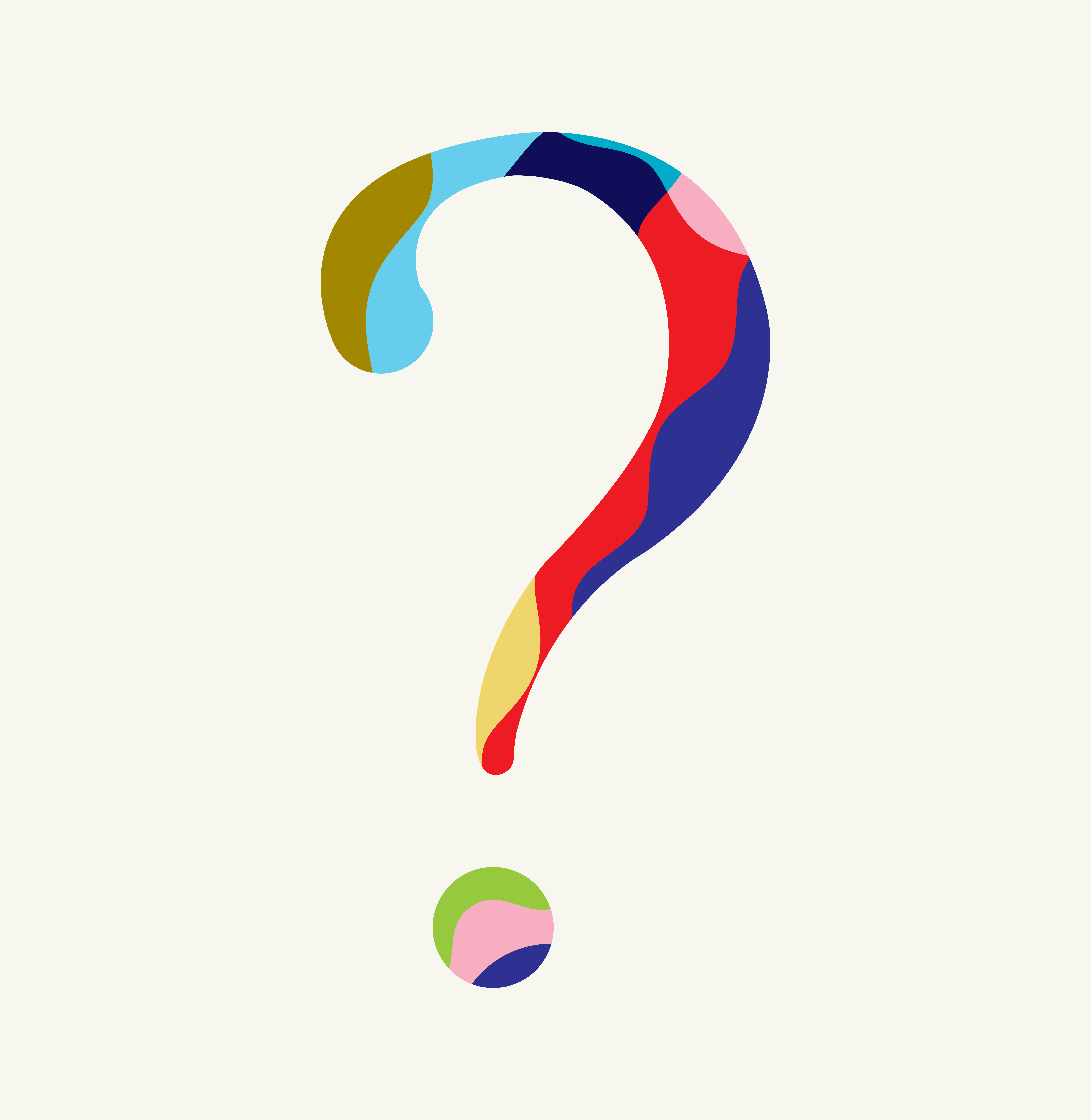 Colorful Question Mark, Geometric, FAQ, Quirky, Mystery, Modern, Contemporary, Vibrant, Style, Who, What, Why, When, Where, Pop, Media, Advertising, Analytics, Journalism, Report, Vector Illustration