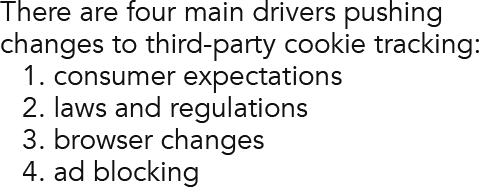 There are four main drivers pushing changes to third-party cookie tracking: 1. consumer expectations2. laws and regulations3. browser changes4. ad blocking