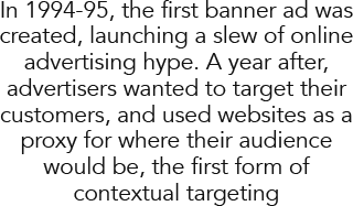 In 1994-95, the first banner ad was created, launching a slew of online advertising hype. A year after, advertisers wanted to target their customers, and used websites as a proxy for where their audience would be, the first form of contextual targeting