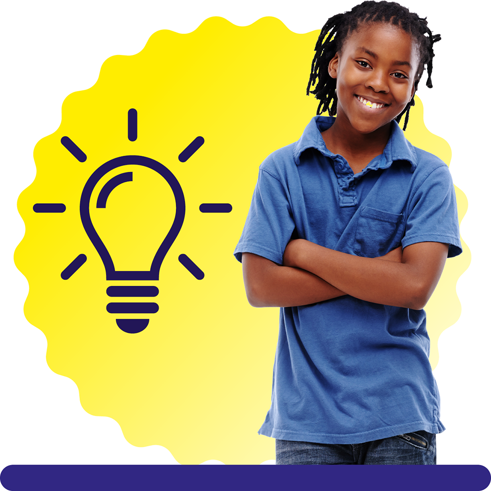 A boy aged 12, wearing a blue T-shirt, on a yellow circular background with a lightbulb icon.