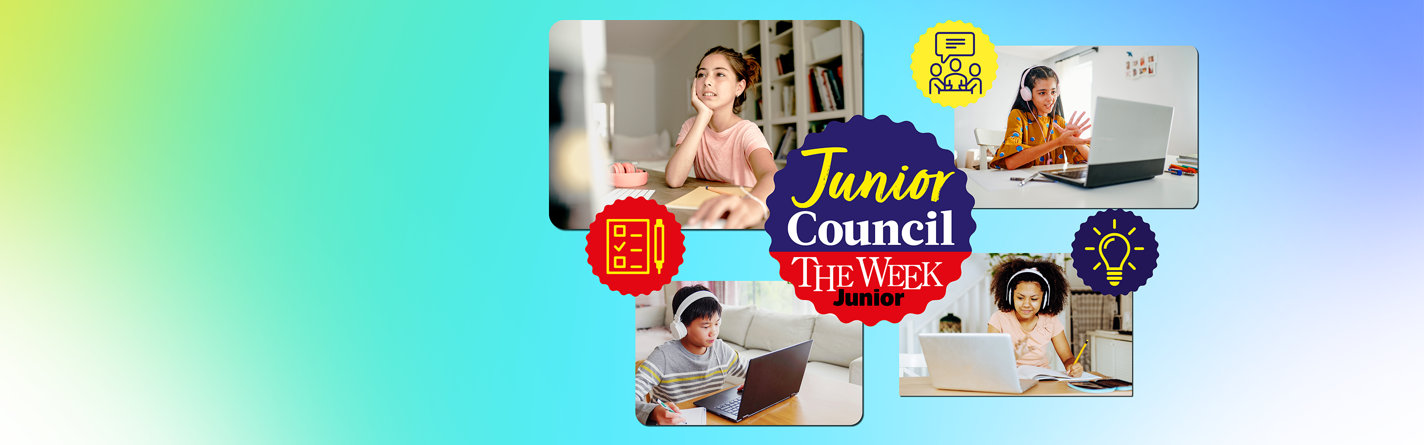 A compilation of images on a green to purple gradient background. 4 images of girls and boys aged 12 using computers. 2 icons, a yellow lightbulb on blue circle and a yellow notepad and pen on a red background. In the center is the logo for Junior Council.