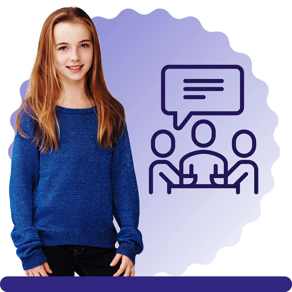 A girl aged 12, with long hair and a blue jumper, on a blue circular background with an icon with 3 people and a speech bubble above their heads.