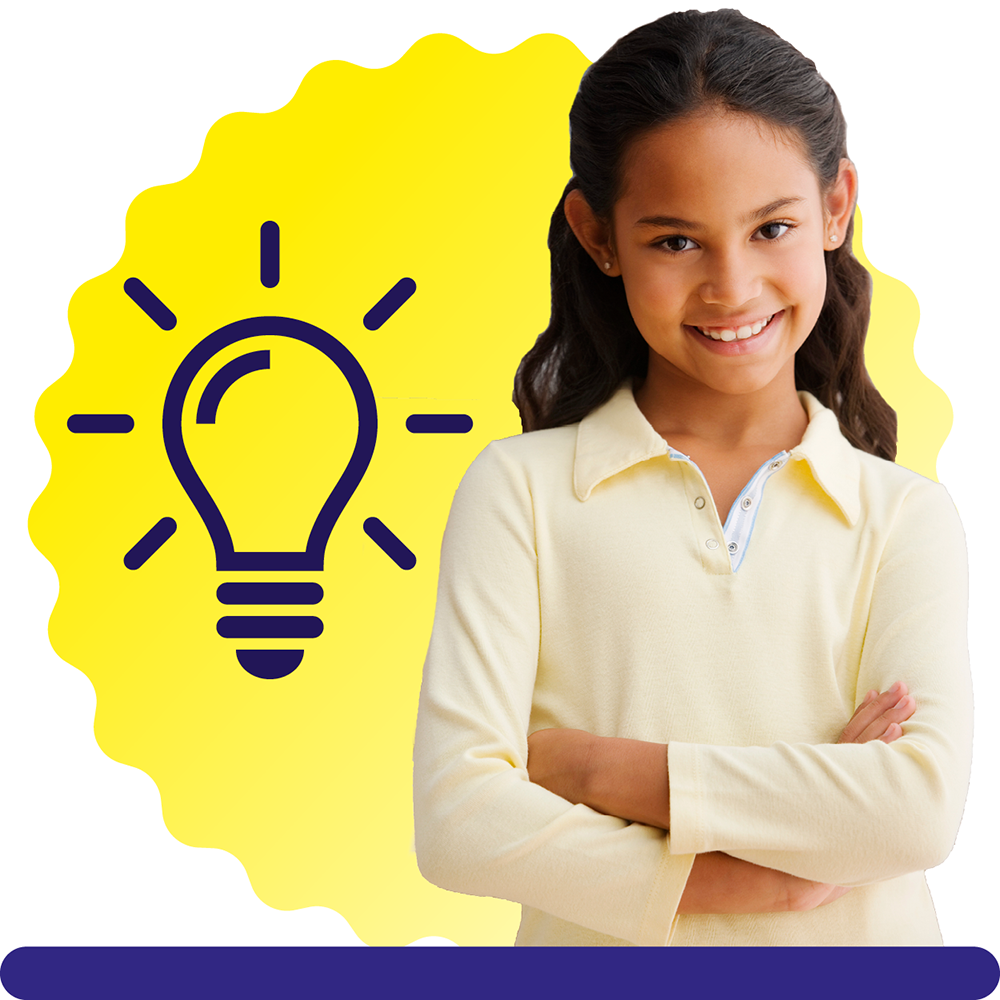 A girl aged 12, with long hair and a yellow long sleeved T-shirt, on a yellow circular background with a lightbulb icon.