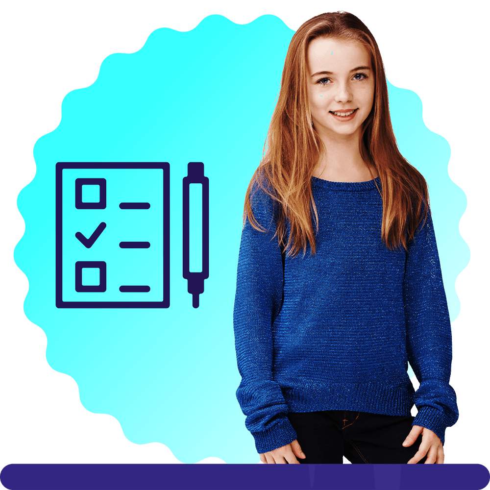 A girl aged 12, with long hair and a blue jumper, on a blue circular background with a lightbulb icon.