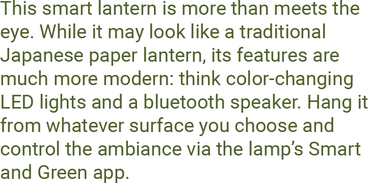 This smart lantern is more than meets the eye. While it may look like a traditional Japanese paper lantern, its features are much more modern: think color-changing LED lights and a bluetooth speaker. Hang it from whatever surface you choose and control the ambiance via the lamp's Smart and Green app.