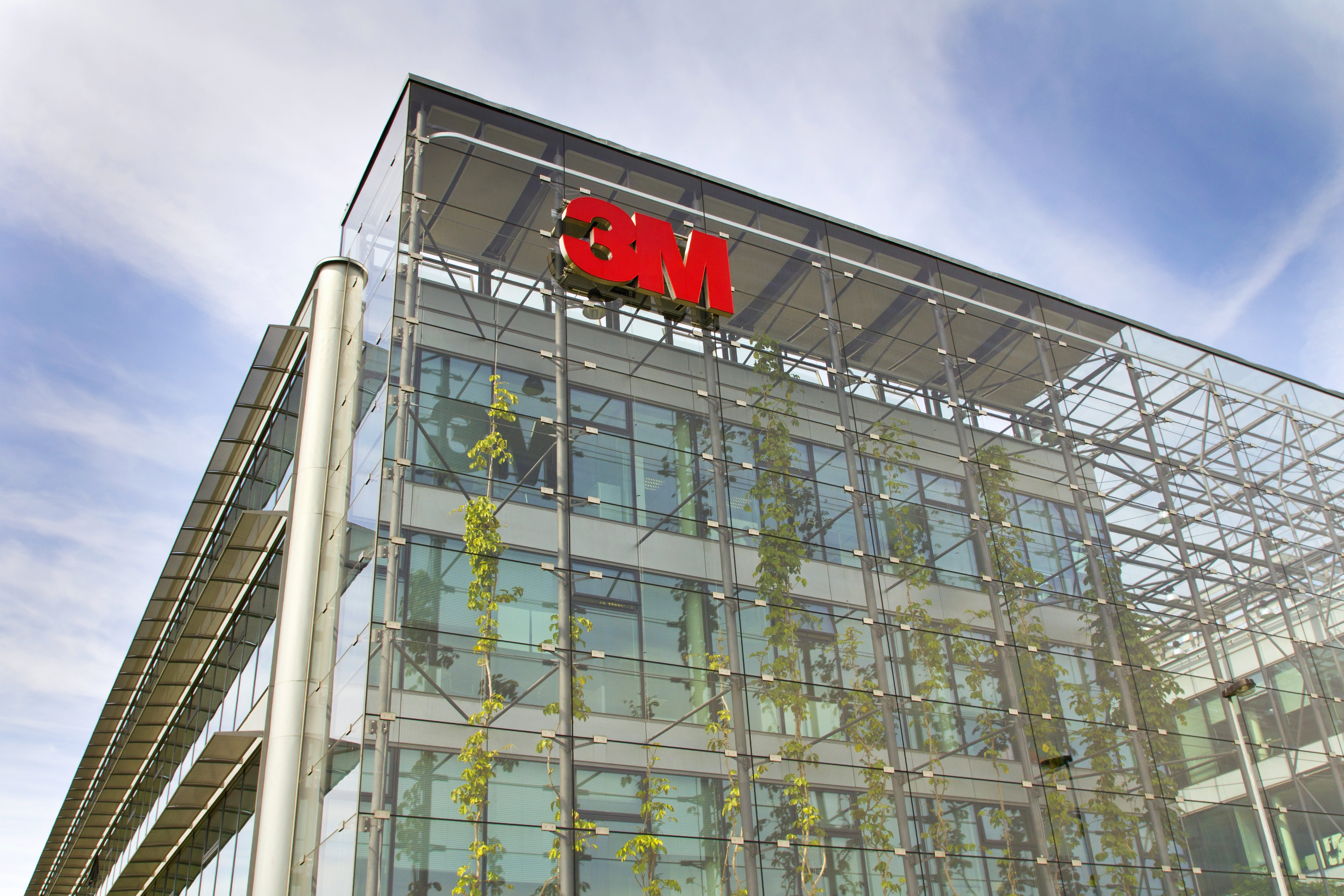 Prague, Czech republic - May 22, 2017: 3M company logo on headquarters building on May 22, 2017 in Prague, Czech republic. 3M CEO Thulin will no longer be required to retire at 65.