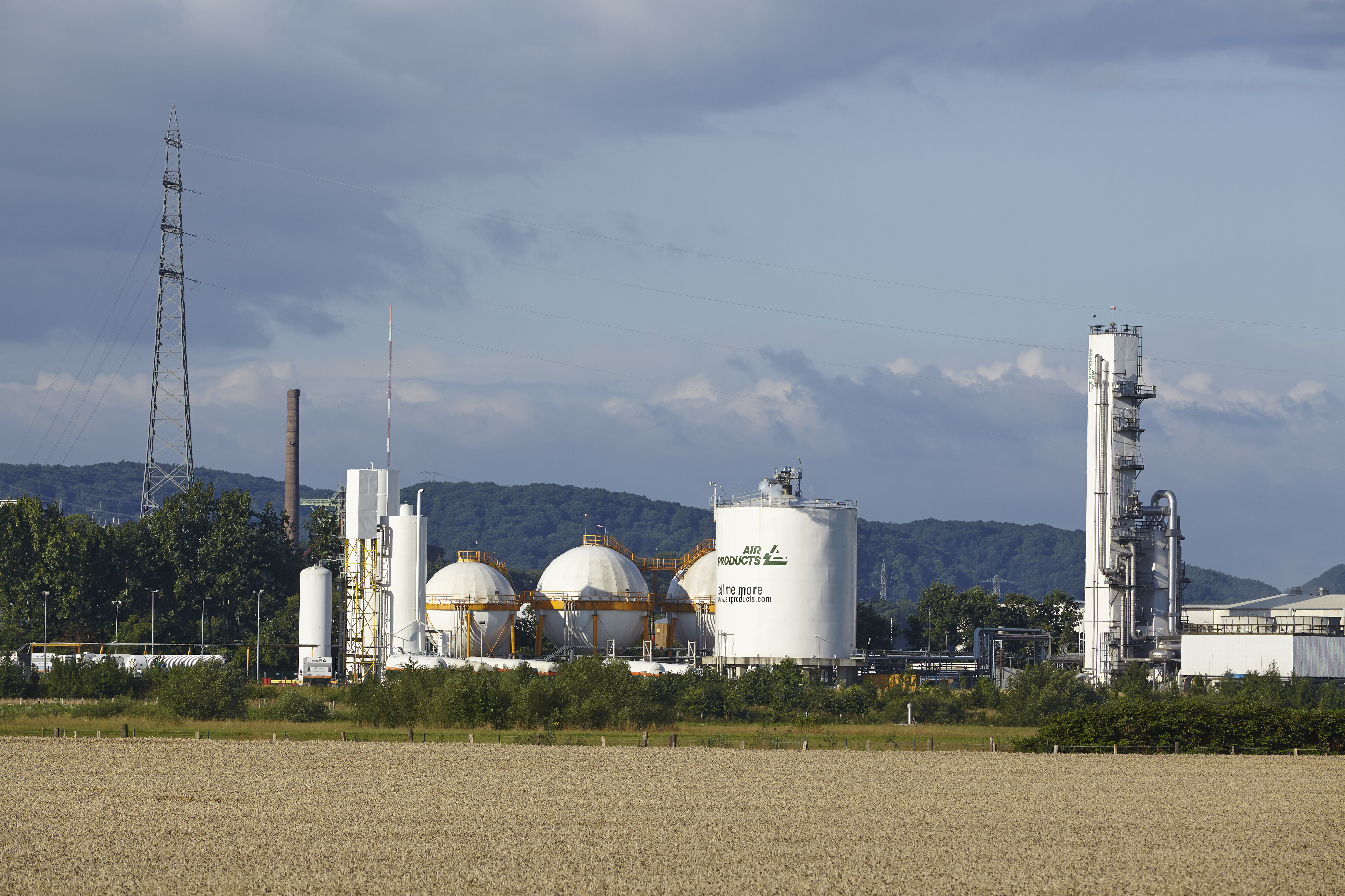 Hattingen, Germany - July 25, 2015: The German branch of Air Products produces gases by liquidation of air near the river Ruhr on July 25, 2015.