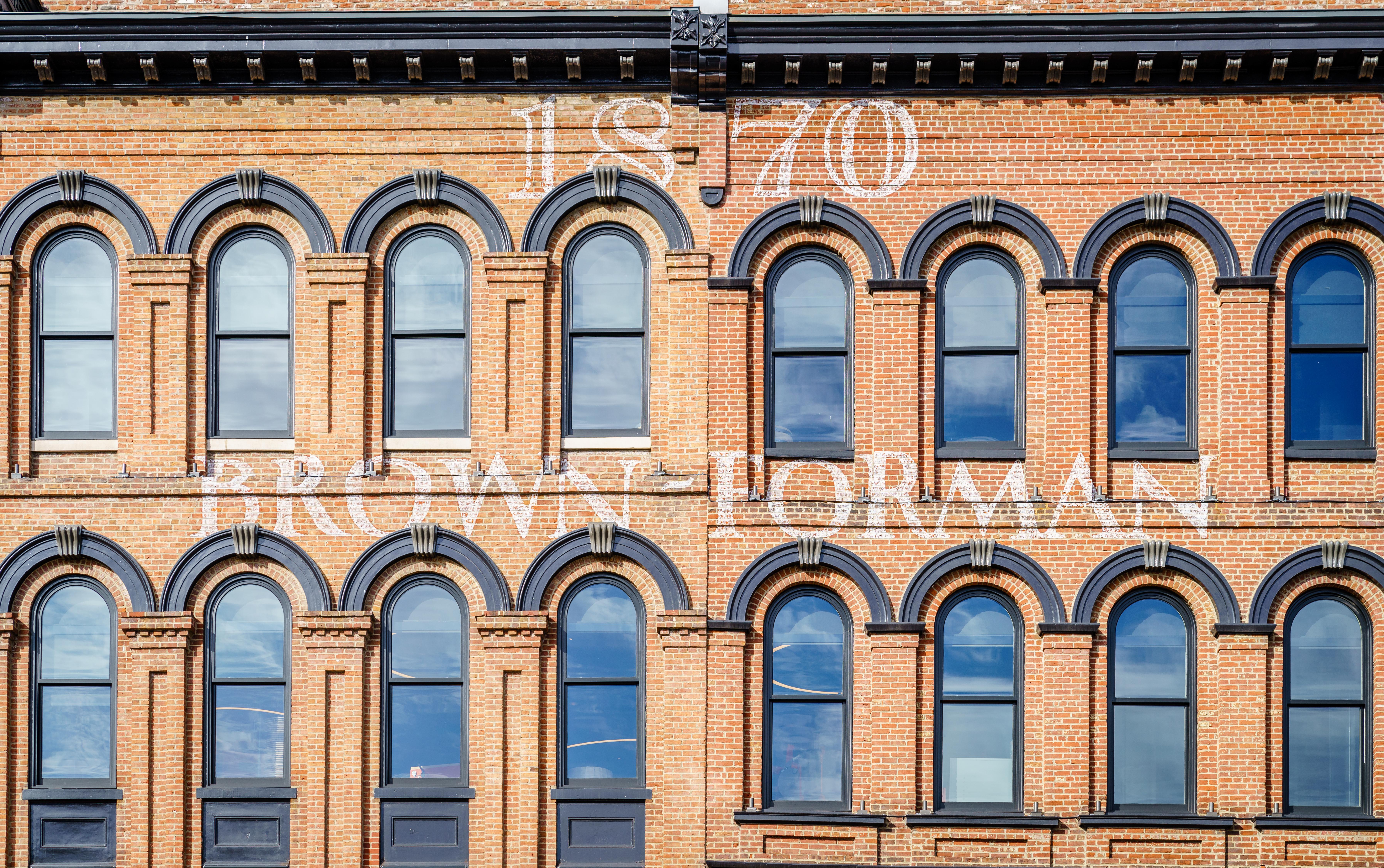 Louisville, KY, February 23, 2020: Façade of the Brown-Forman Corporation building in Louisville, Kentucky