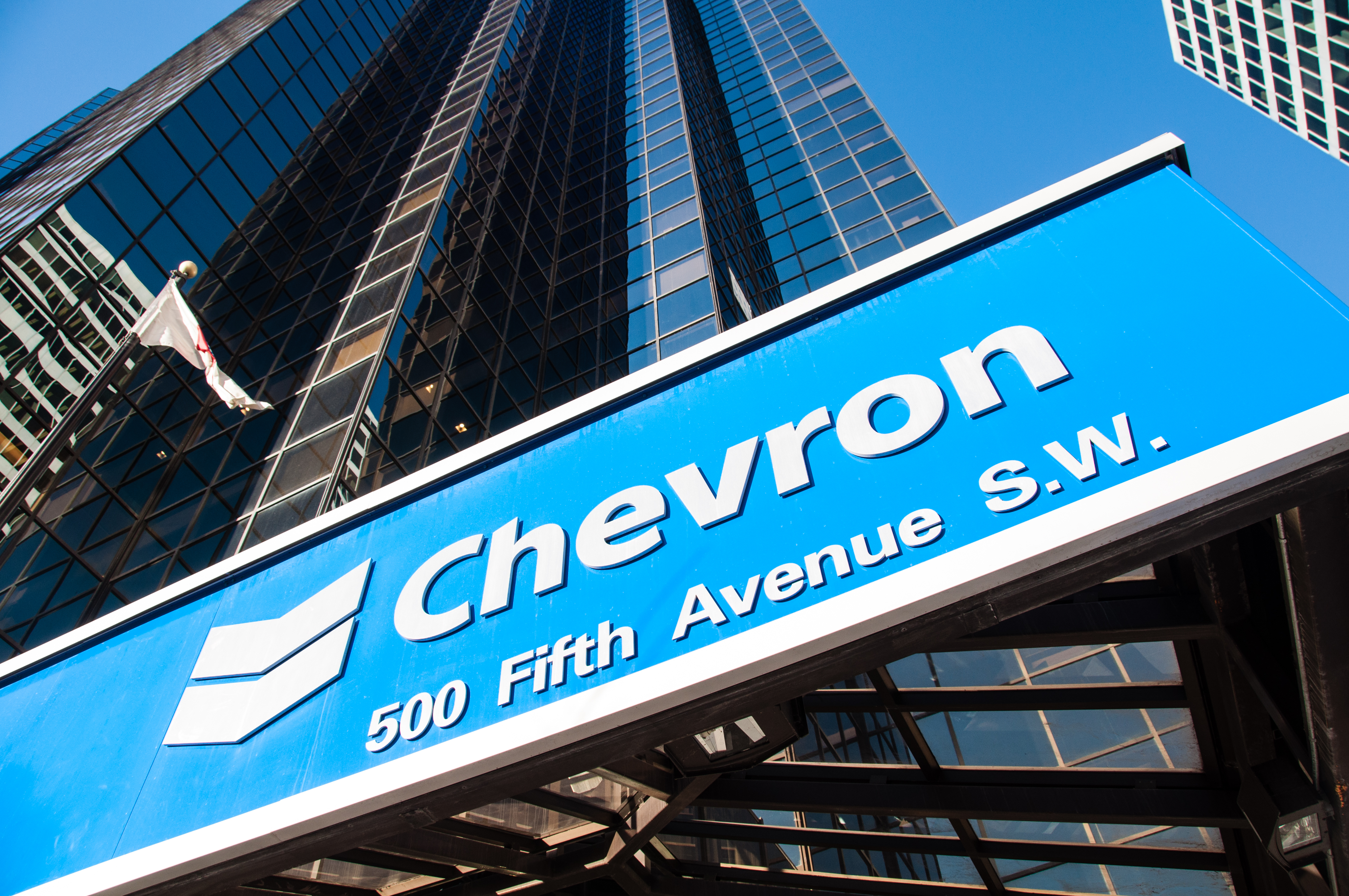 Calgary, Alberta, Canada - November 14, 2013: Chevron Oil s head office in Calgary Alberta. Chevron is one of the developers of the Alberta Oil sands, and a global energy company based in the USA.