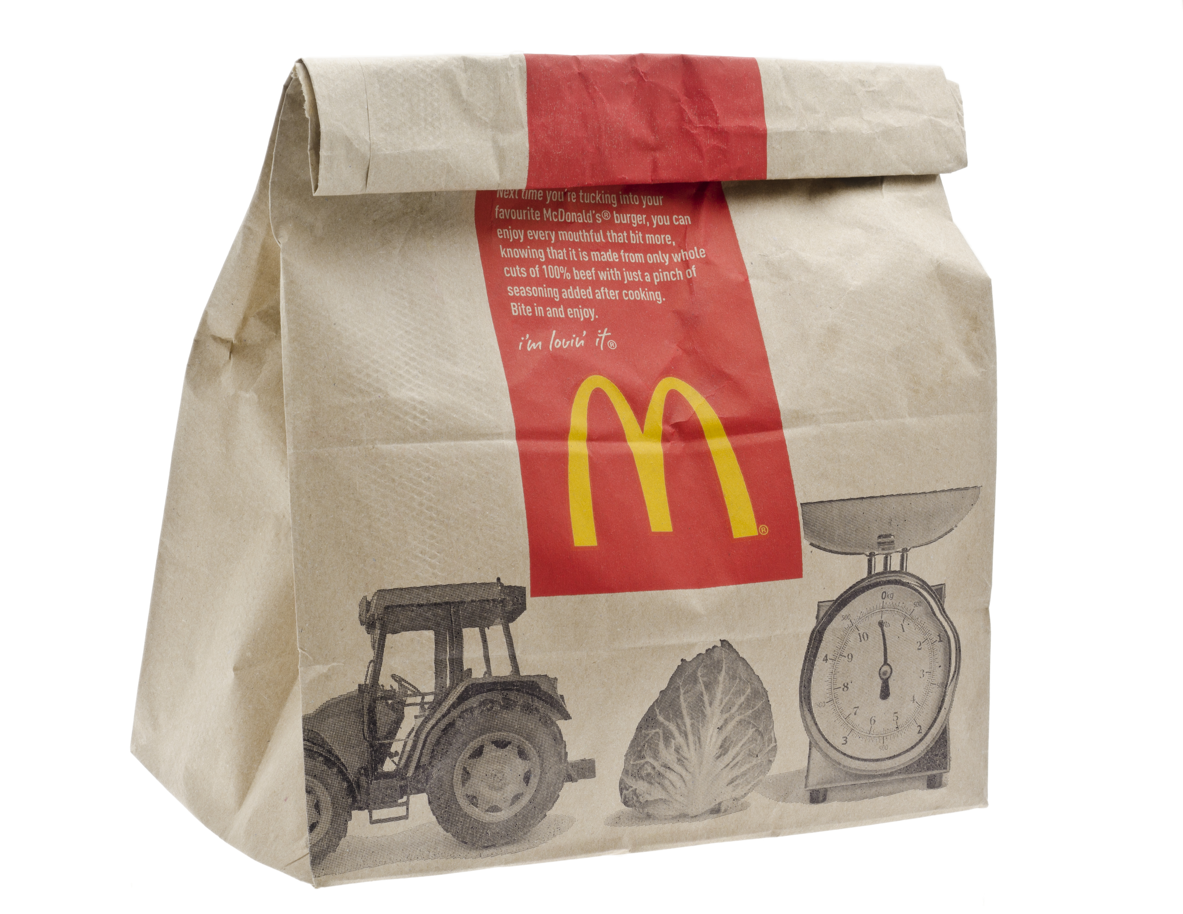 London, England - January 1, 2013: McDonald's Fast Food Meal in Brown Paper Bag