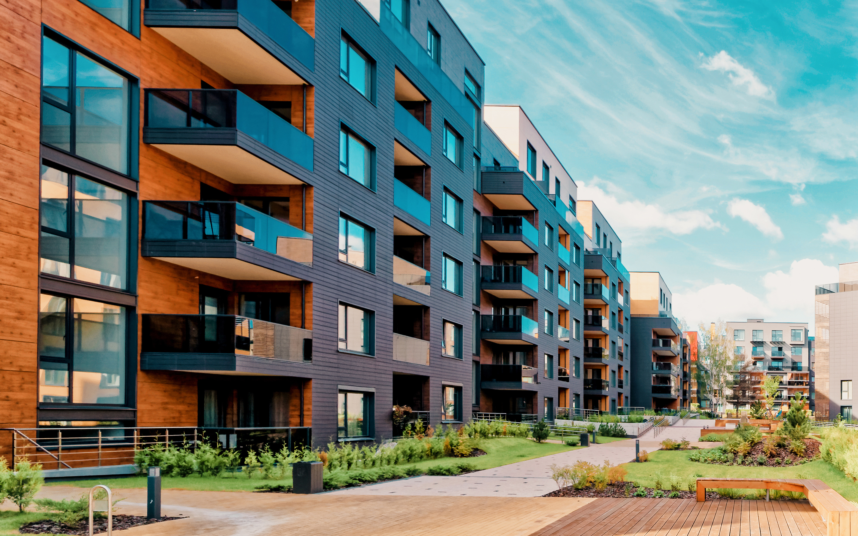 Europe modern complex of residential buildings. And outdoor facilities.