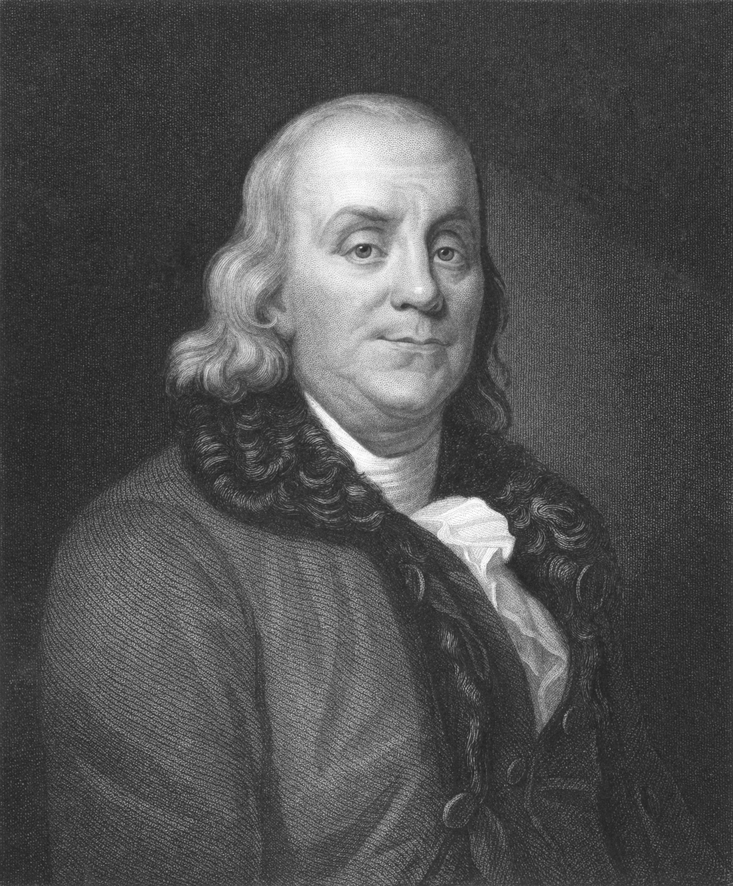Benjamin Franklin on engraving from the 1850s. One of the founders of the United States of America. Engraved by J. Thomson and published in London by Charles Knight, Ludgate Street & Pall Mall East.