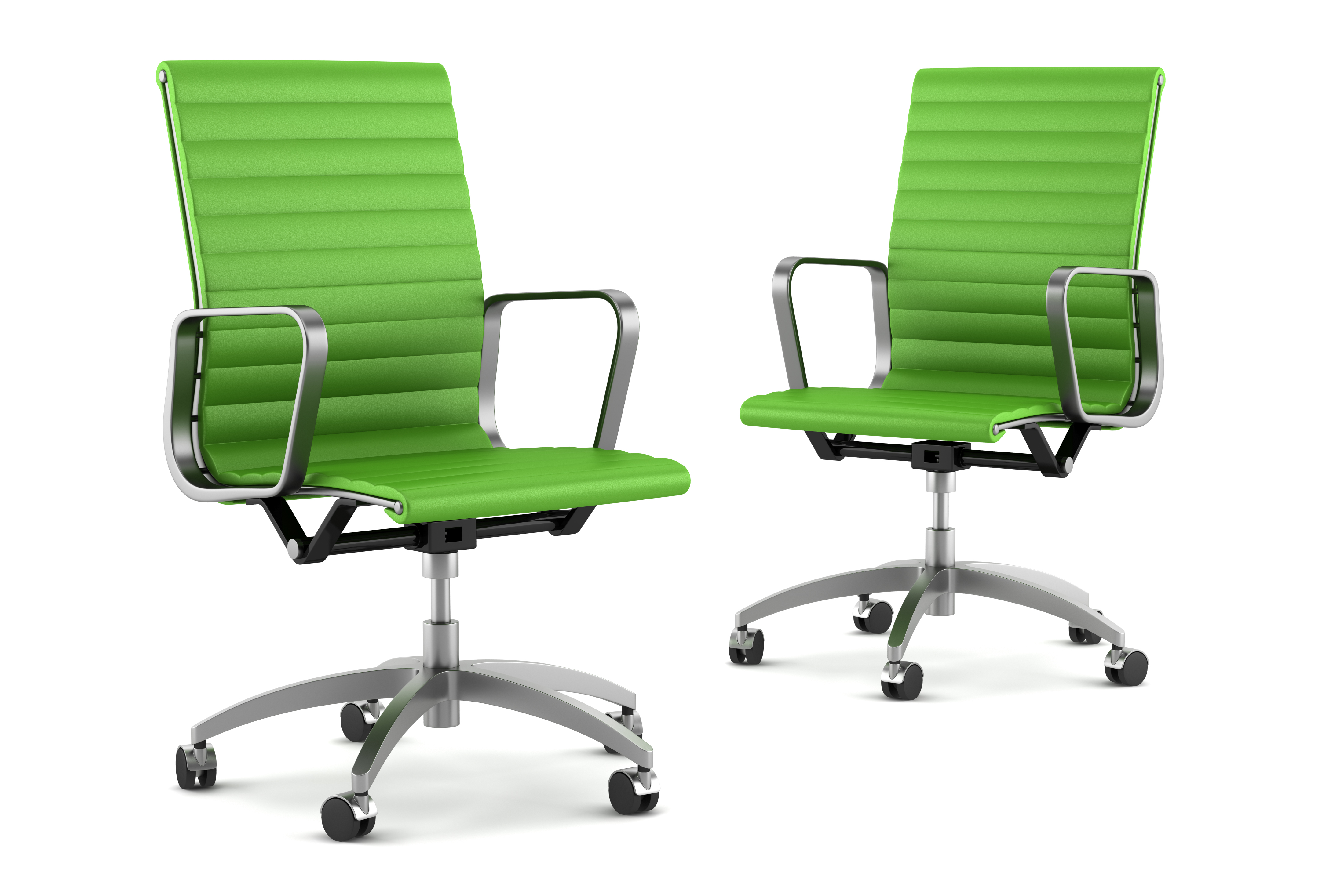 two modern green office chairs isolated on white background