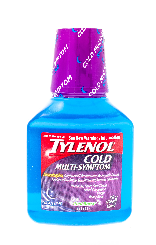 Winneconne, WI, USA  - 30  April 2015: Bottle of Tylenol cold multi-symptom formula.