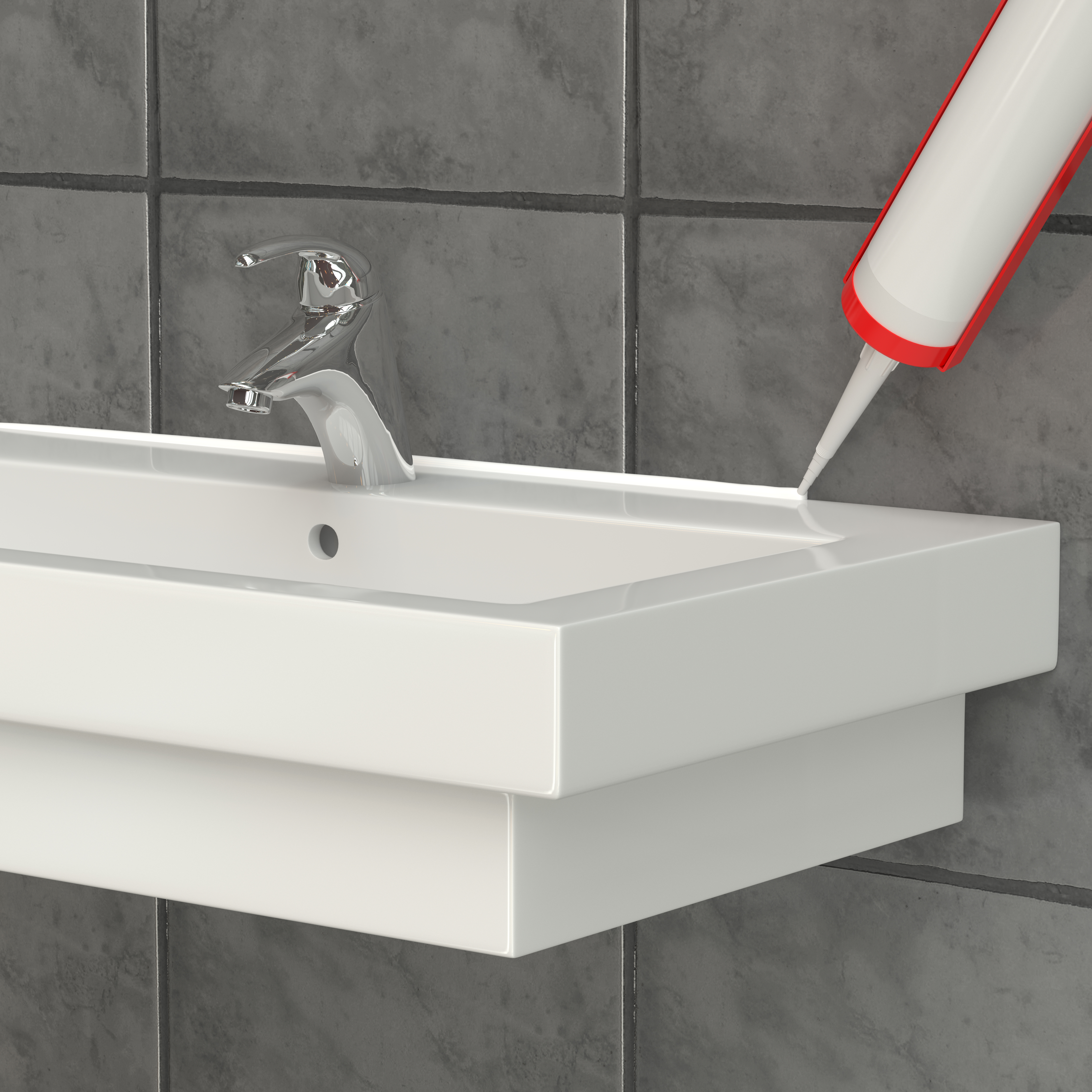 Visualization. The sealant is applied to the washbasin. 3D rendering
