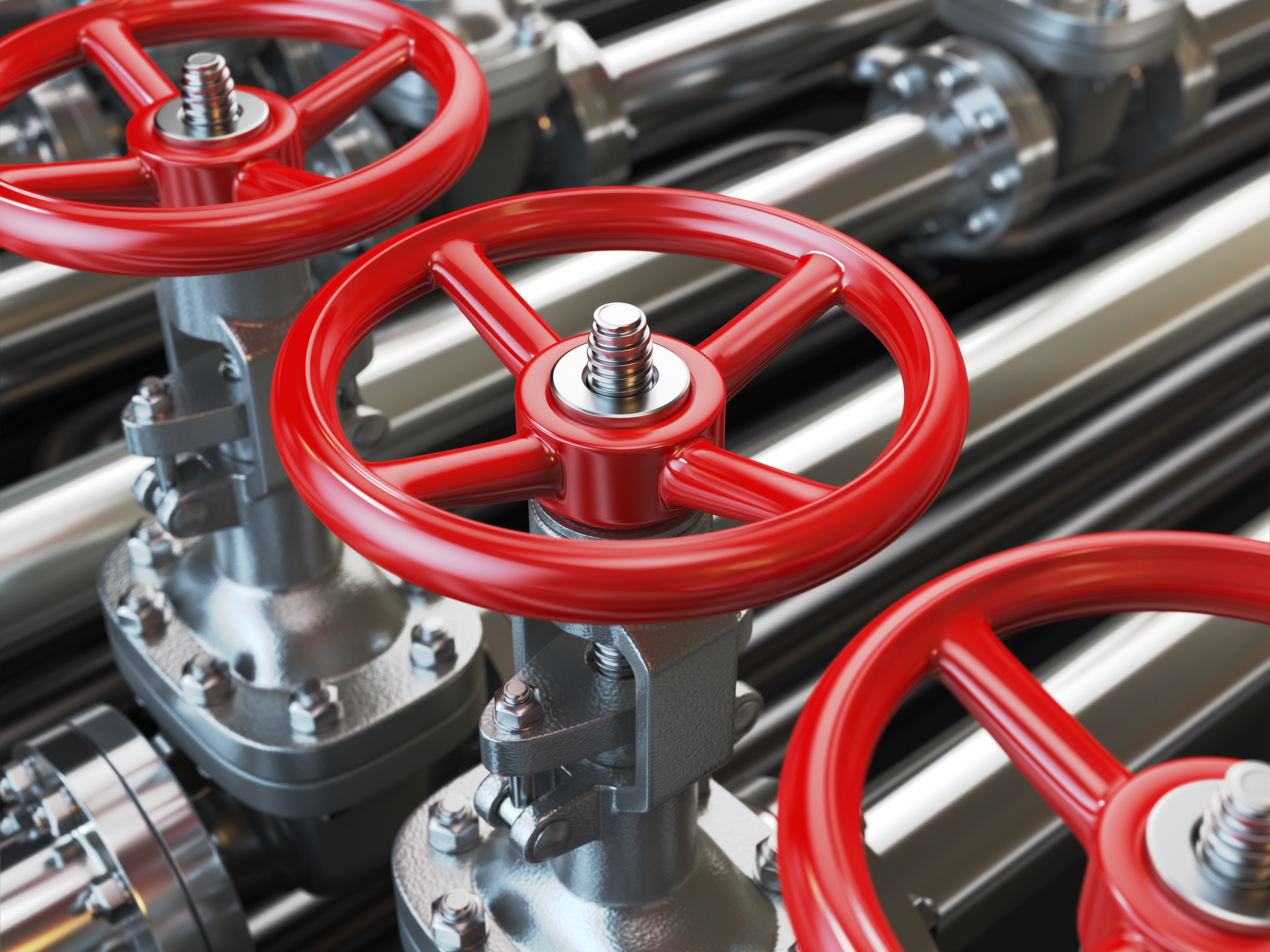 Oil or gas pipe line valves. 3d illustration