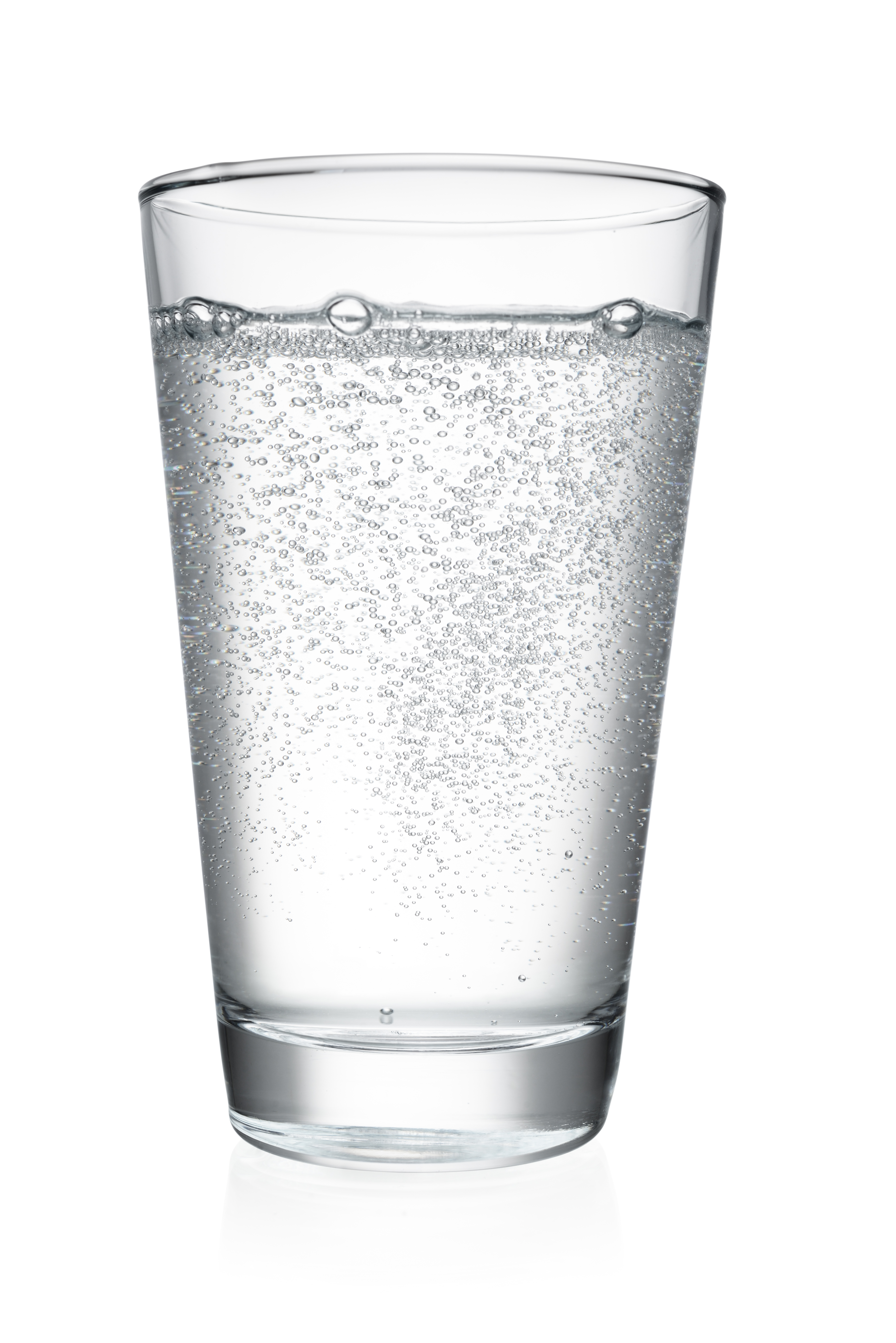 Glass of mineral sparkling water isolated on white background with clipping path