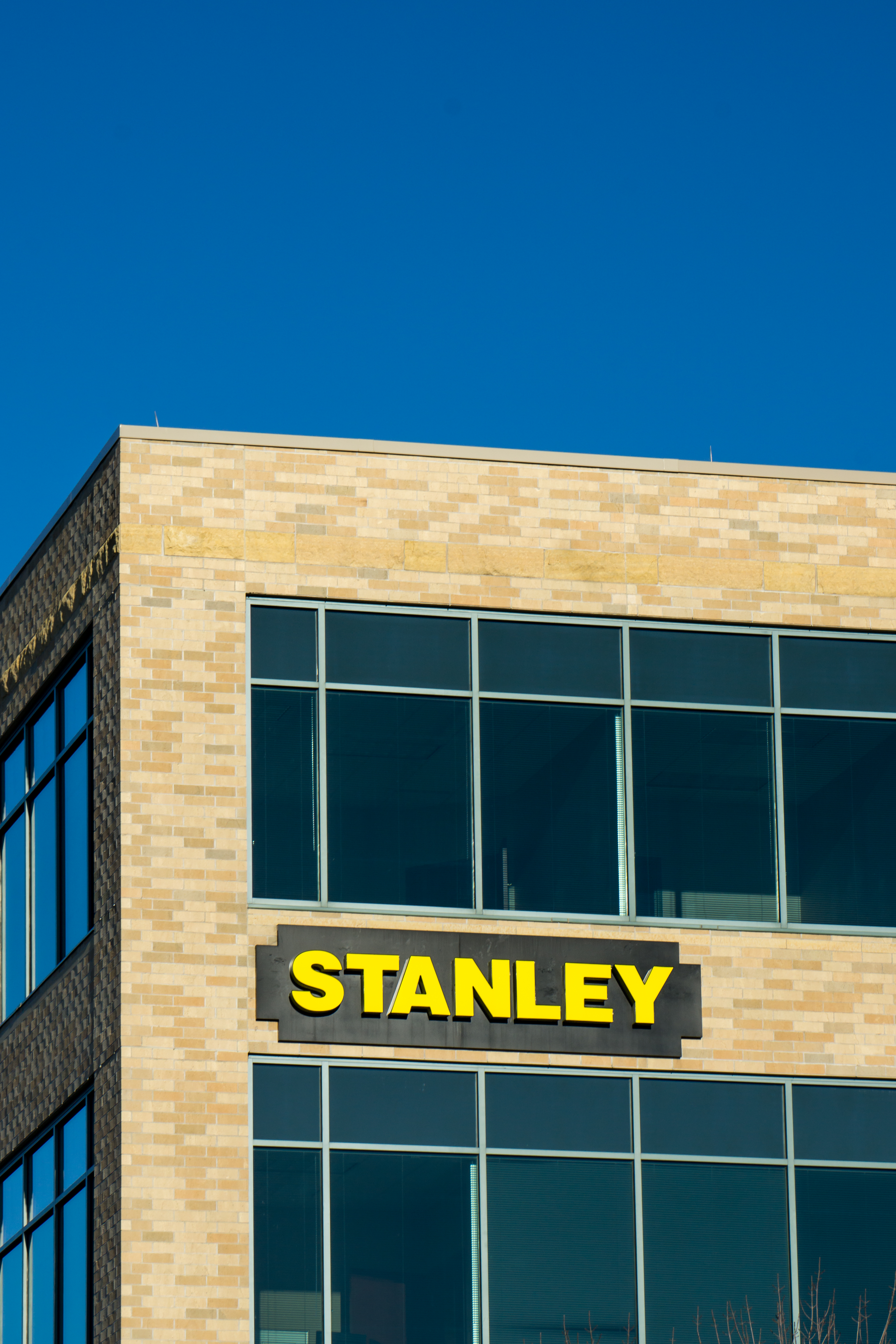 Maple Grove, United States - January 18, 2015: Stanley corporate headquarters and sign. Stanley Hand Tools is a brand of hand tools and a division of Stanley Black and Decker.